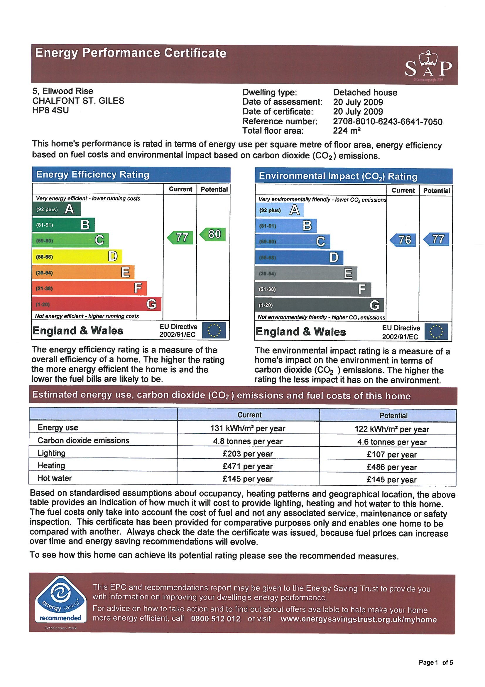 EPC Graph for 5 Ellwood Rise, Chalfont St Giles, Buckinghamshire, HP8 4SU