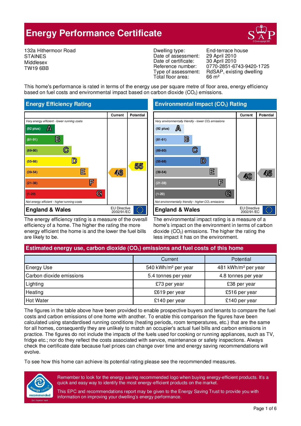 EPC Graph for 132a Hithermoor Road, Stanwell Moor, Middlesex TW19 6BB