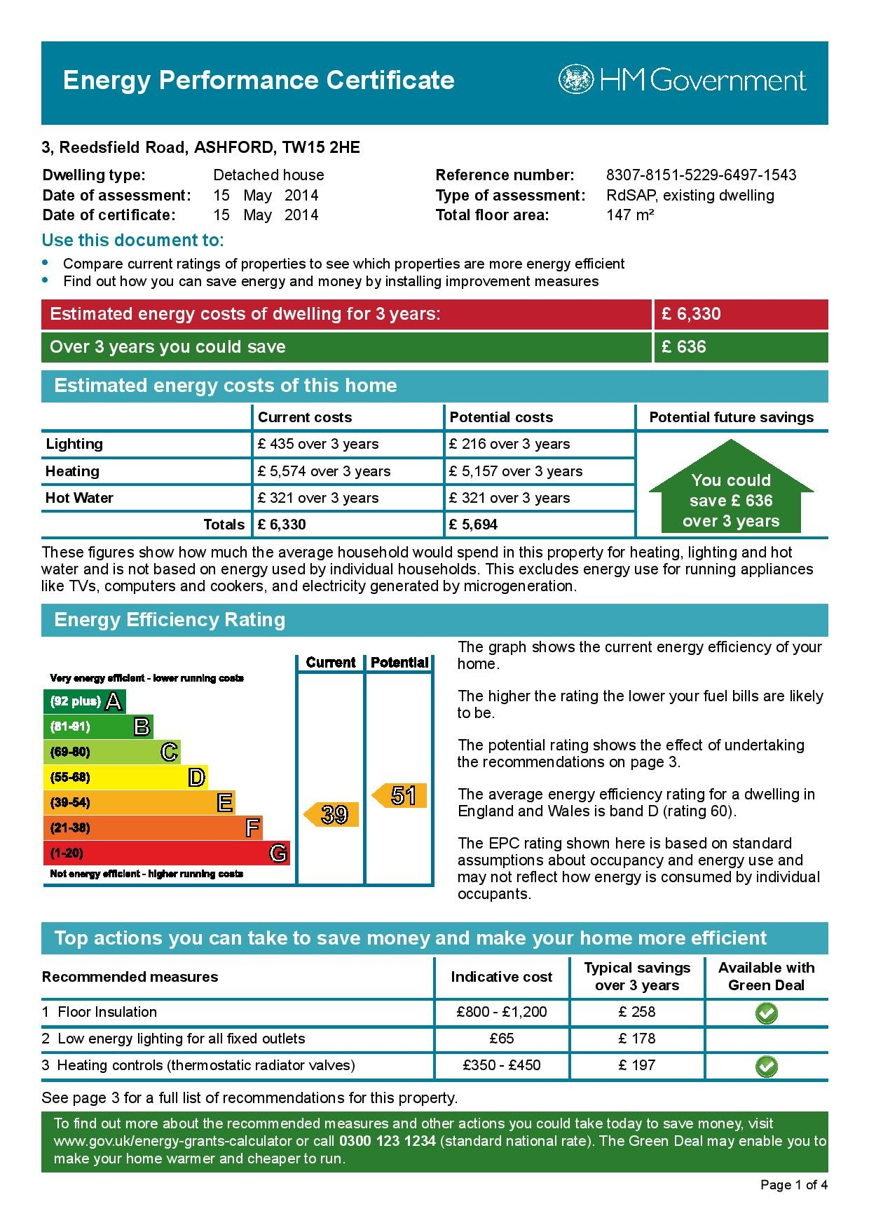EPC Graph for 3 Reedsfield Road, Ashford, Middlesex TW15 2HE