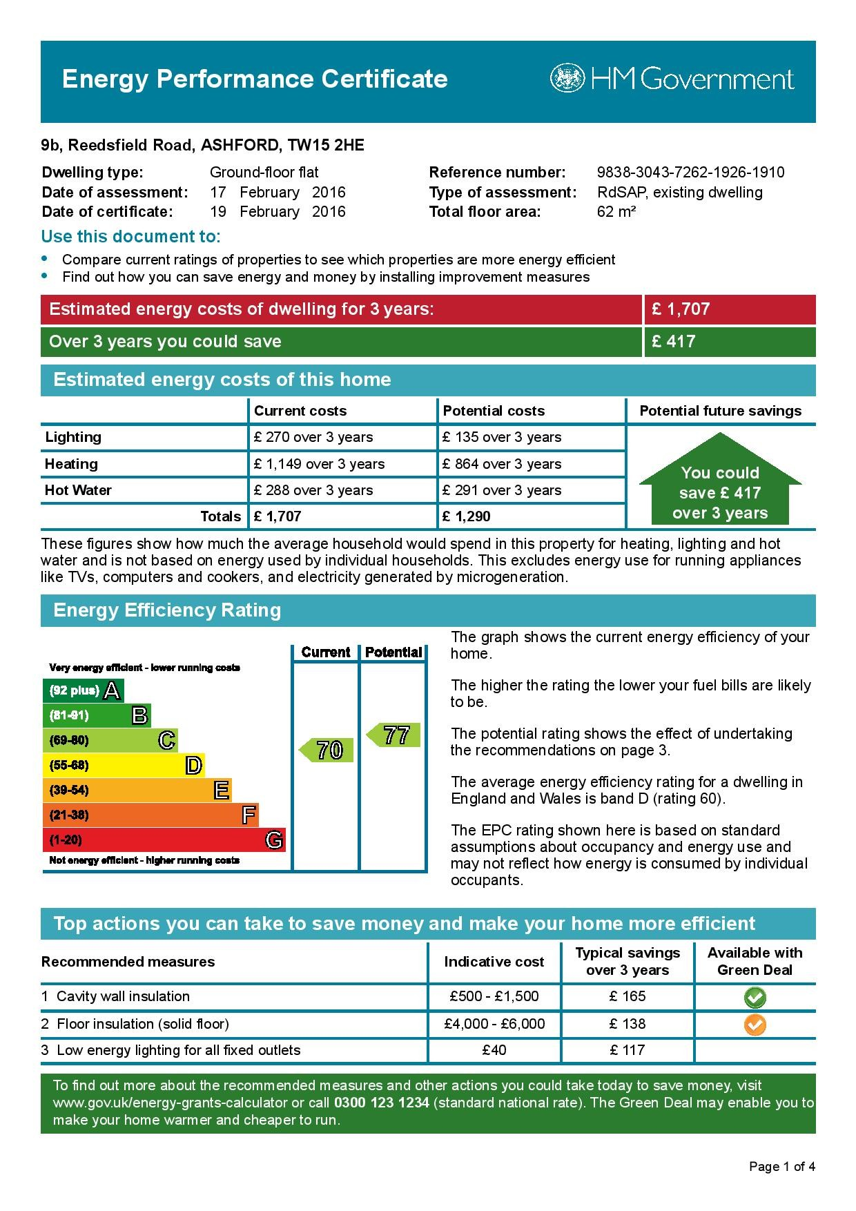 EPC Graph for 9b  Reedsfield Road, Ashford, Middlesex TW15 2HE