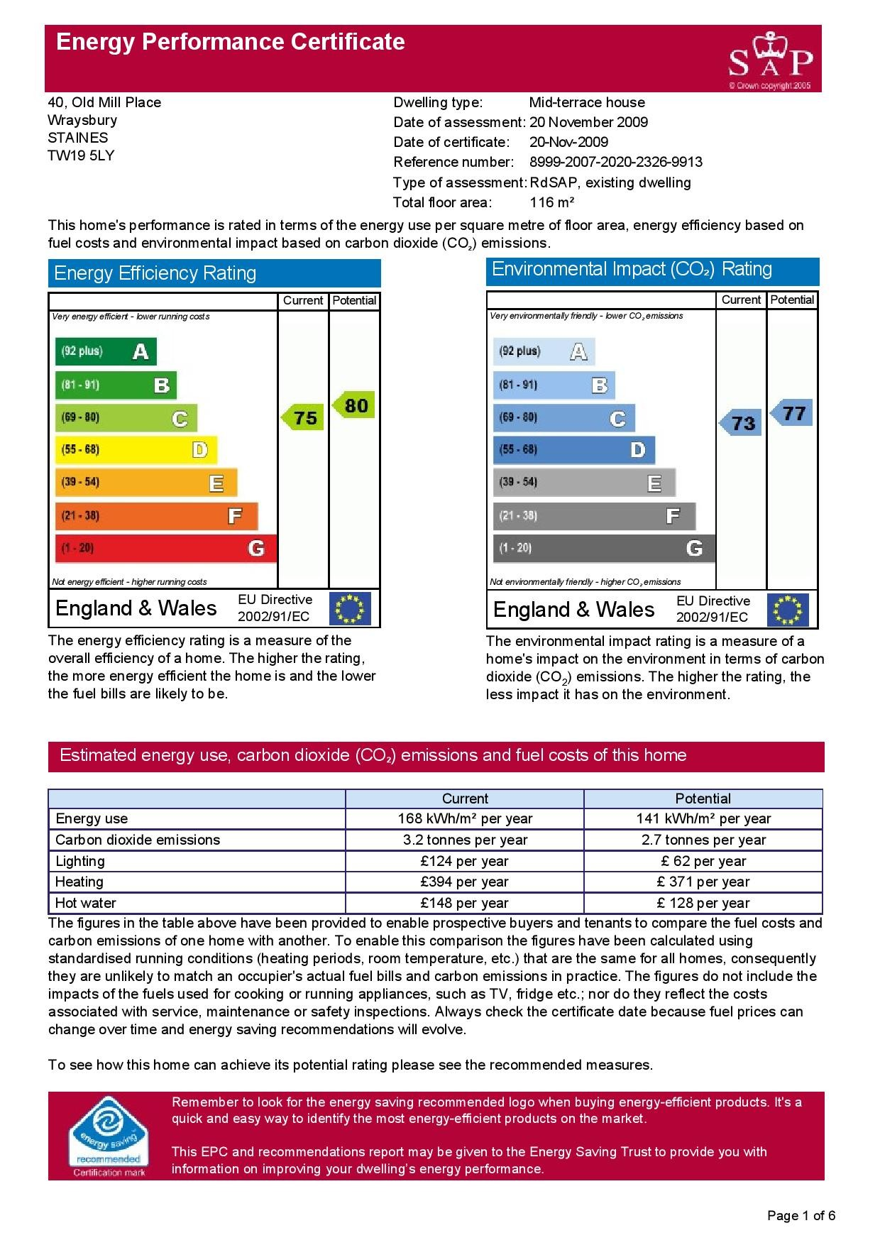 EPC Graph for 40 Old Mill Place, Wraysbury, Berkshire TW19 5LY