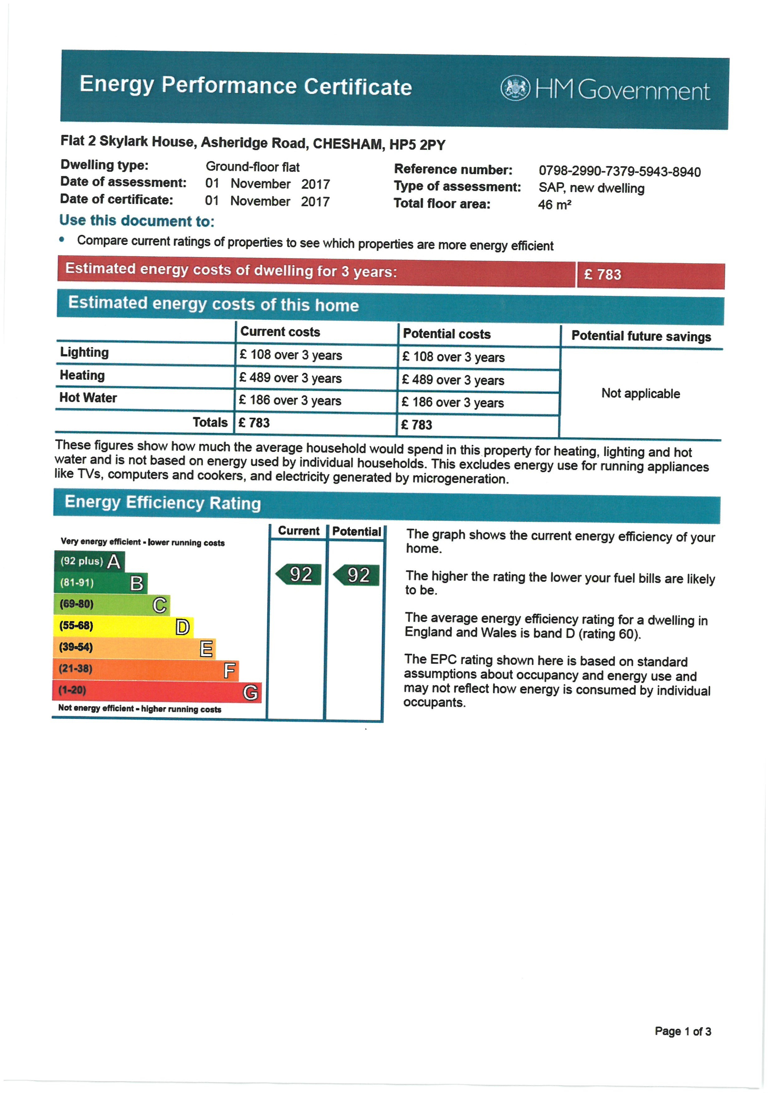 EPC Graph for 2 Skylark House, Asheridge Road, Chesham, Buckinghamshire, HP5 2PY