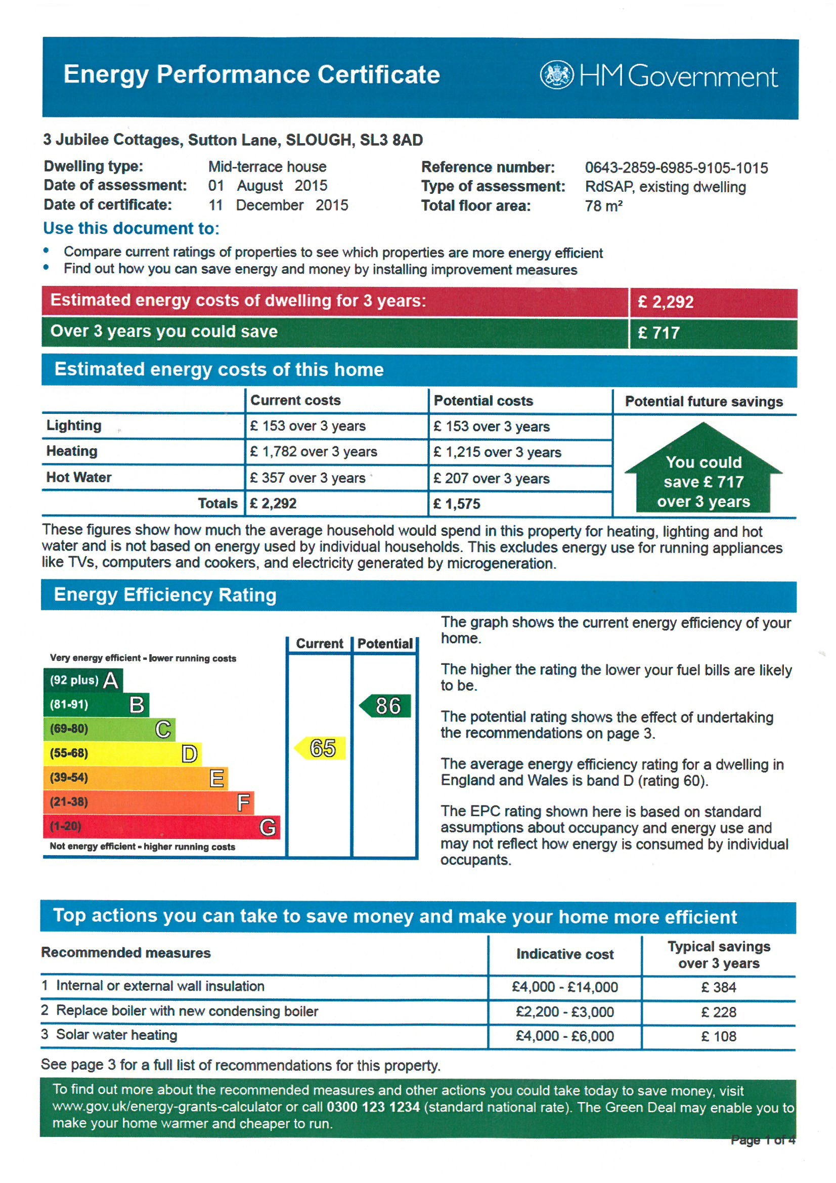 EPC Graph for 3 Jubilee Cottages, Sutton Lane, Langley, Berkshire SL3 8AD