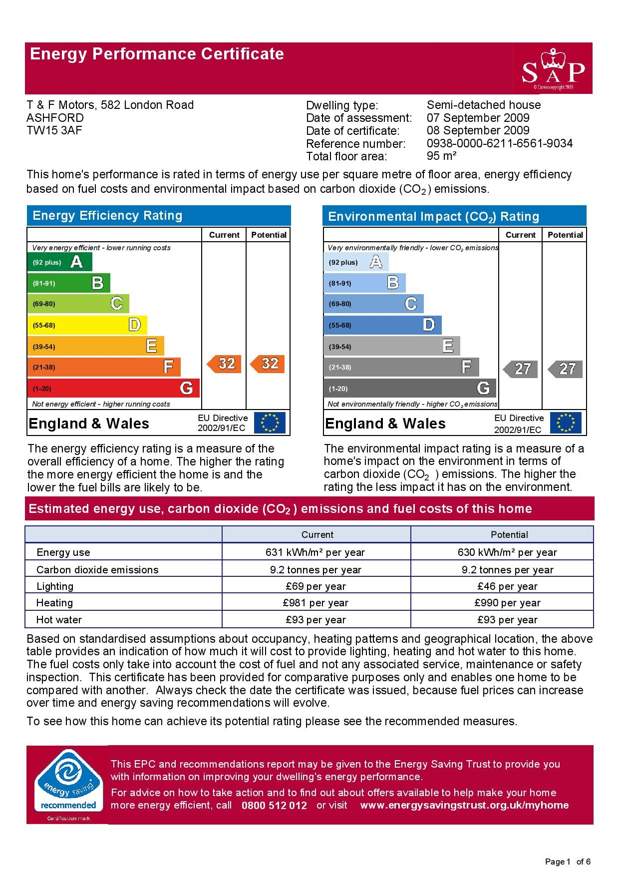 EPC Graph for 582 London Road, Ashford, Middlesex TW15 3AF