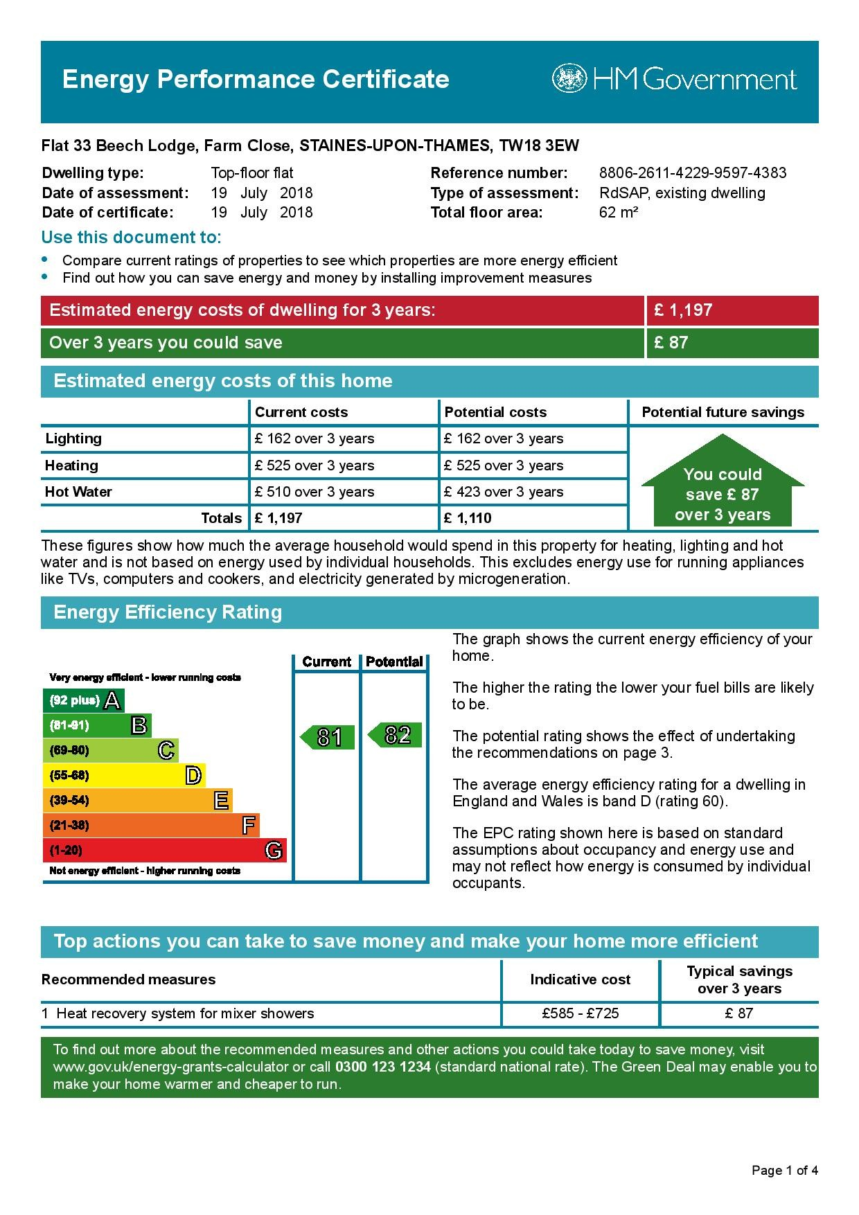 EPC Graph for 33 Beech Lodge, Farm Close, Staines-Upon-Thames, Middlesex TW18 3EW