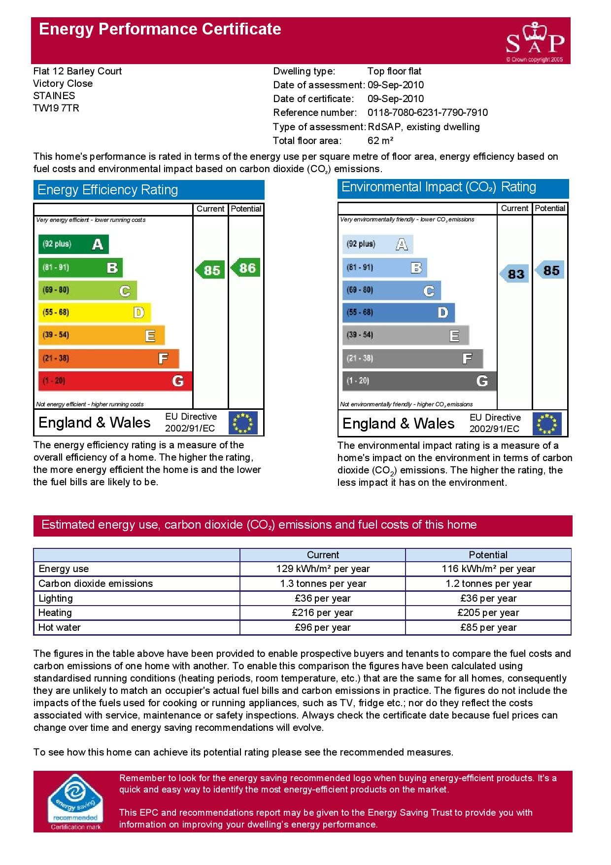 EPC Graph for 12 Barley Court, Victory Close, Stanwell, Middlesex TW19 7TR