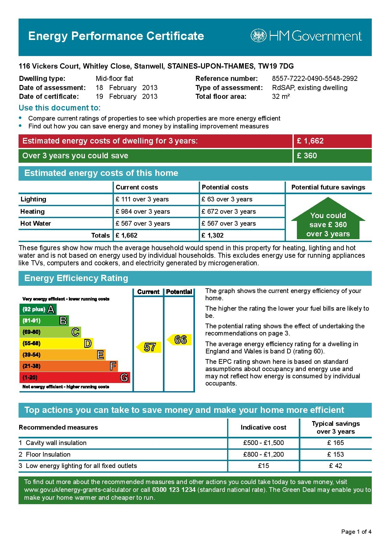 EPC Graph for 116 Vickers Court, Whitley Close, Stanwell, Middlesex TW19 7DG