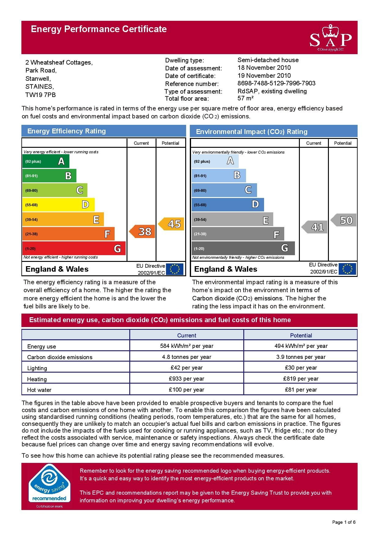 EPC Graph for 2 Wheatsheaf Cottages, Park Road, Stanwell Village, Middlesex TW19 7PB