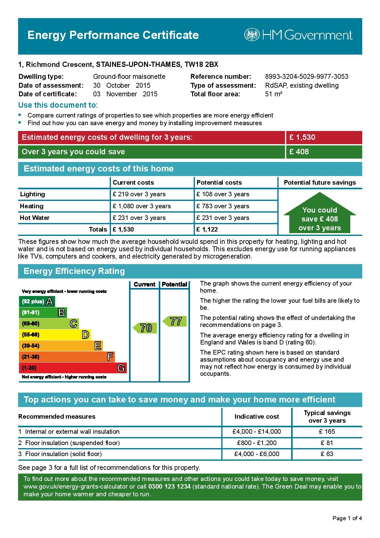 EPC Graph for 1 Richmond Crescent, Staines-Upon-Thames, Middlesex, TW18 2BX