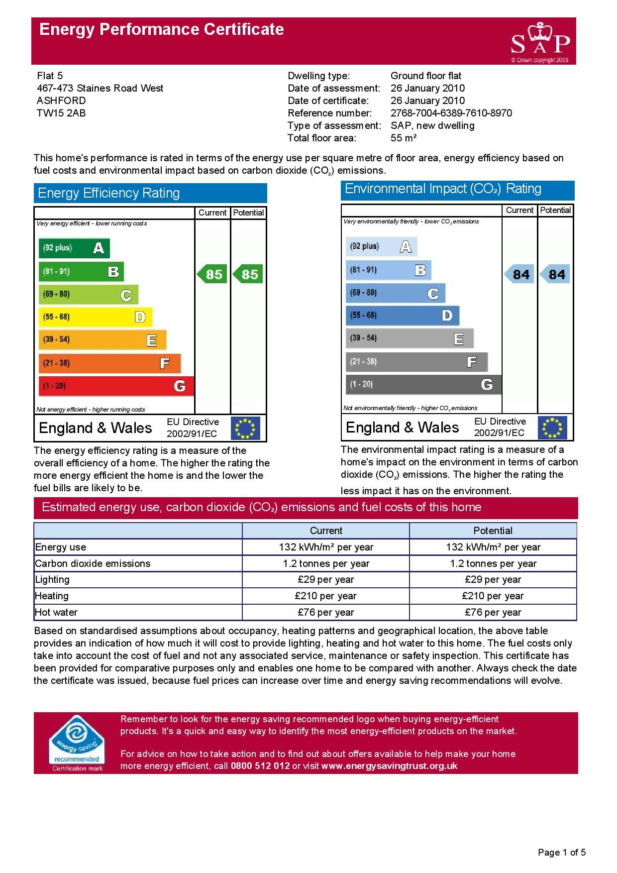 EPC Graph for 5 Newman Court, 467-473 Staines Road West, Ashford, Middlesex TW15 2AB