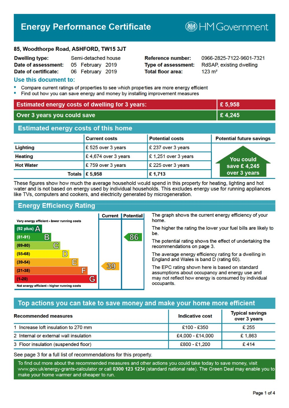 EPC Graph for 85 Woodthorpe Road, Ashford, Middlesex TW15 3JT