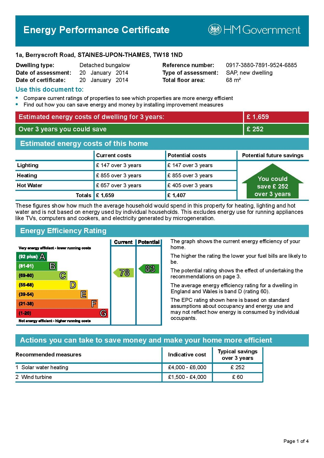 EPC Graph for 1a Berryscroft Road, Laleham, Middlesex TW18 1ND