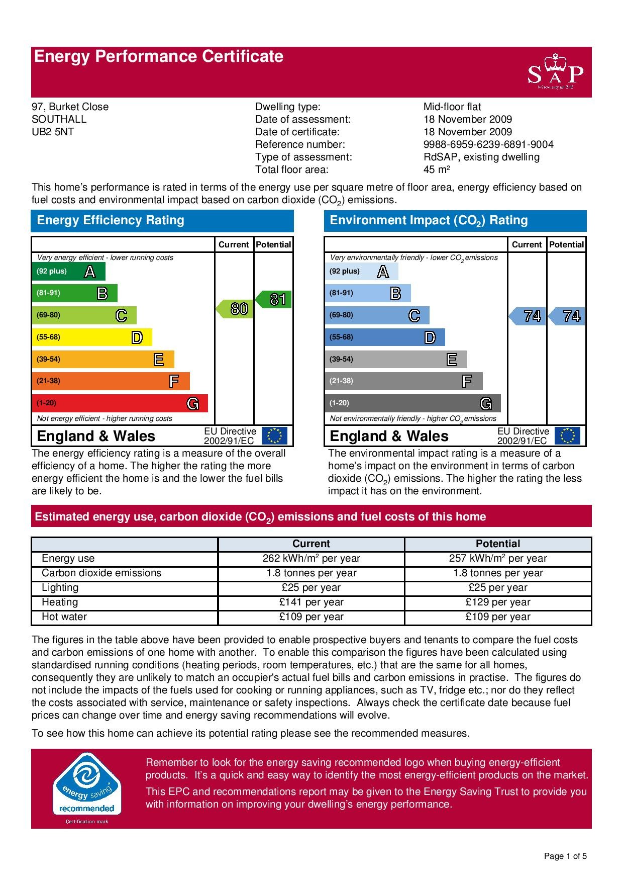 EPC Graph for 97 Burket Close, Norwood Green, Middlesex UB2 5NT
