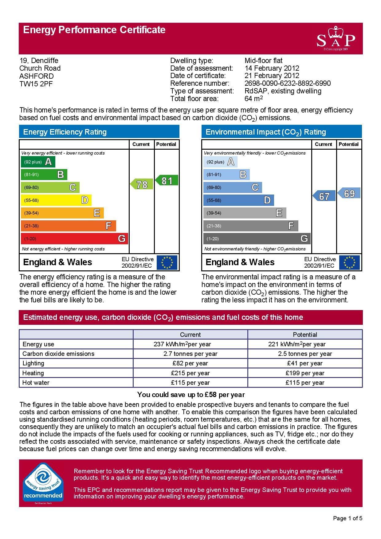 EPC Graph for 19 Dencliffe, Church Road, Ashford, Middlesex TW15 2PF