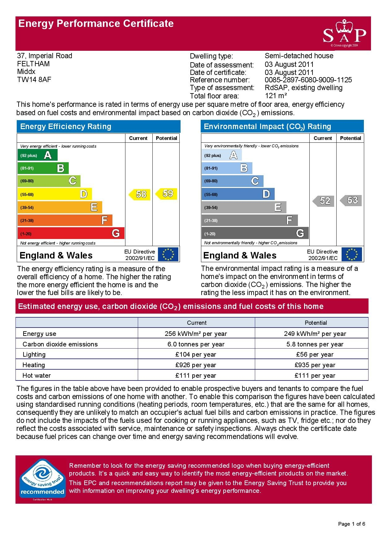 EPC Graph for 37 Imperial Road, Feltham, Middlesex TW14 8AF