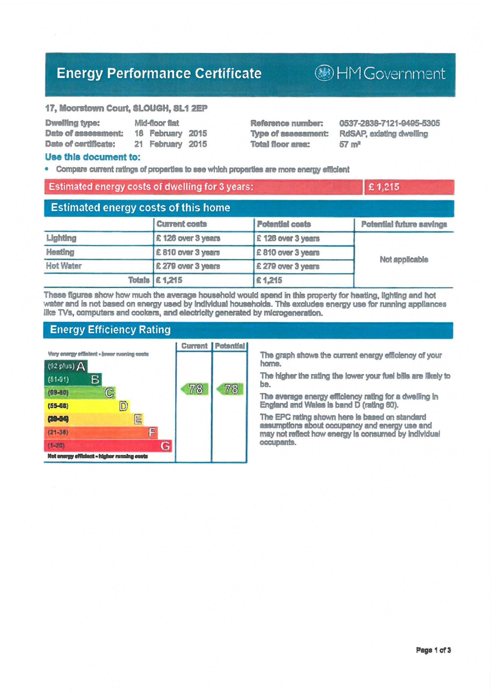EPC Graph for 17 Moorstown Court, Slough, Berkshire SL1 2EP