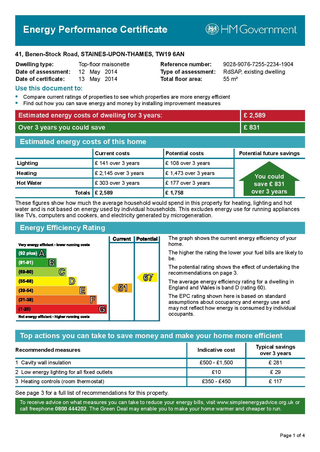 EPC Graph for 41 Benen-Stock Road, Stanwell Moor, Middlesex TW19 6AN
