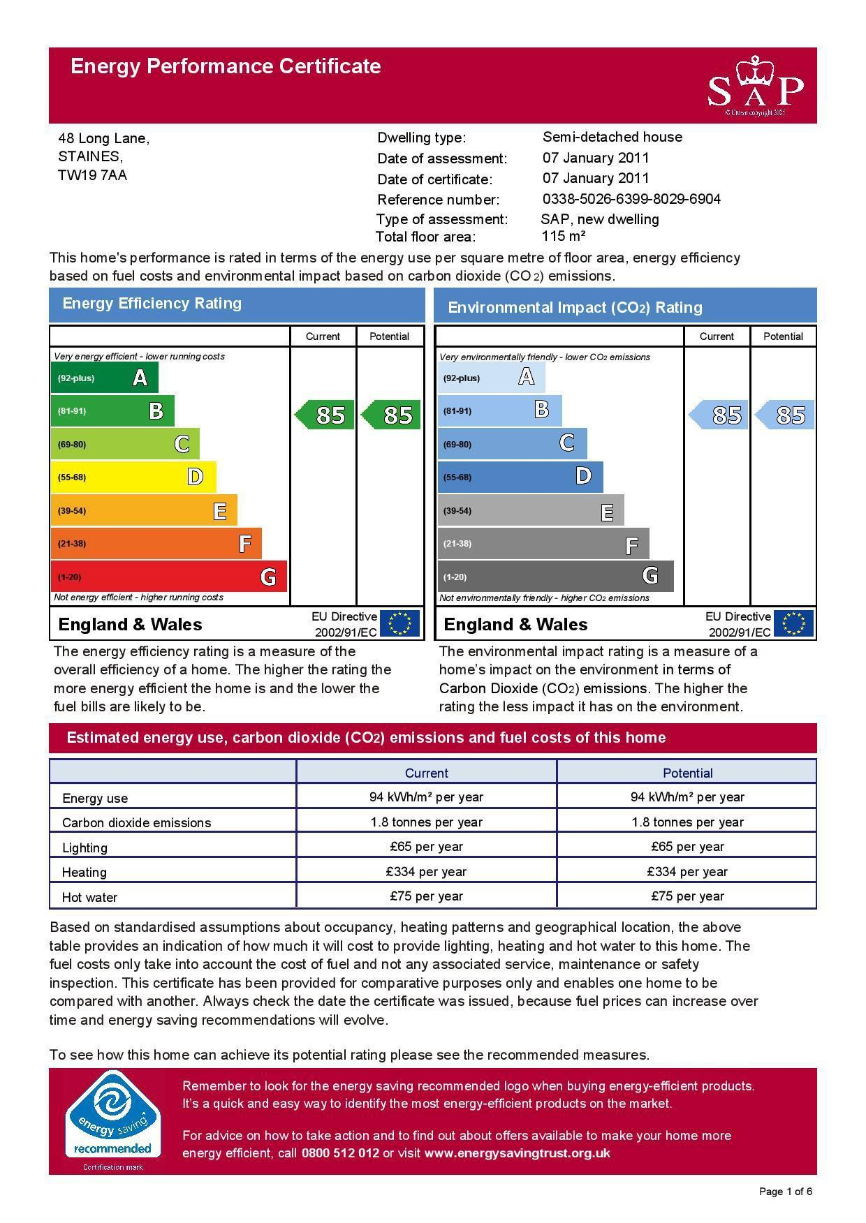 EPC Graph for 48 Long Lane, Stanwell, Middlesex TW19 7AA