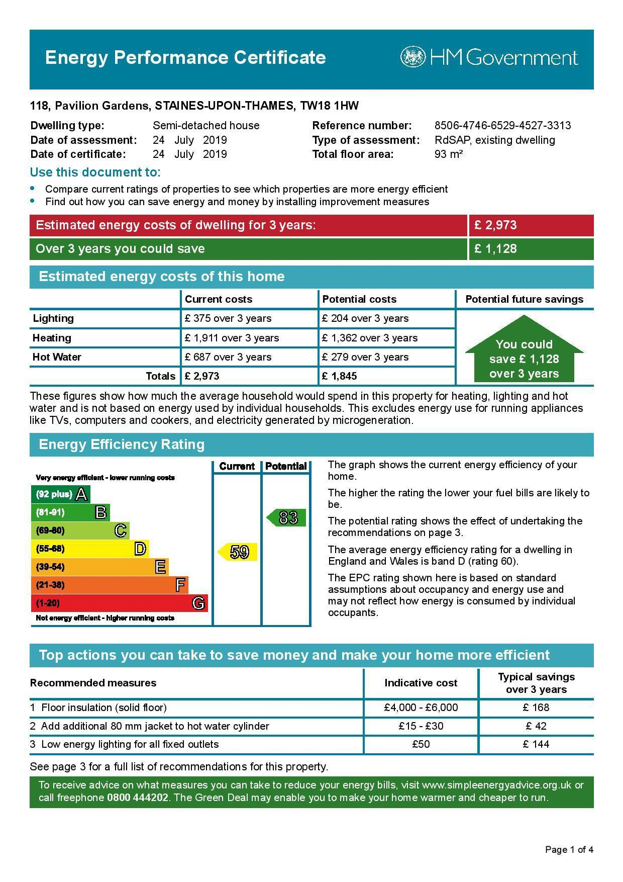 EPC Graph for 118 Pavilion Gardens, Staines-Upon-Thames, Middlesex TW18 1HW
