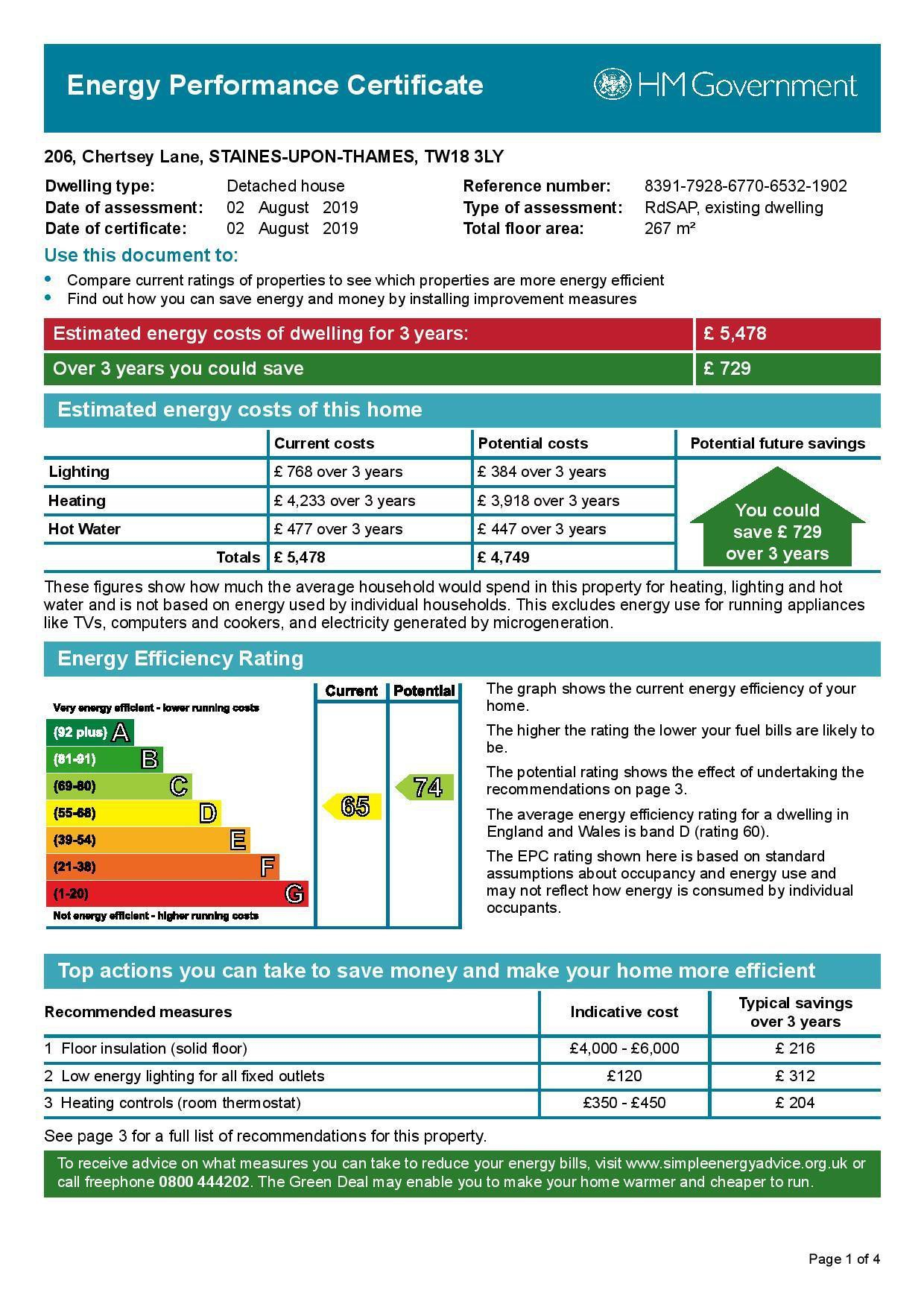 EPC Graph for 206 Chertsey Lane, Staines-Upon-Thames, Middlesex TW18 3LY