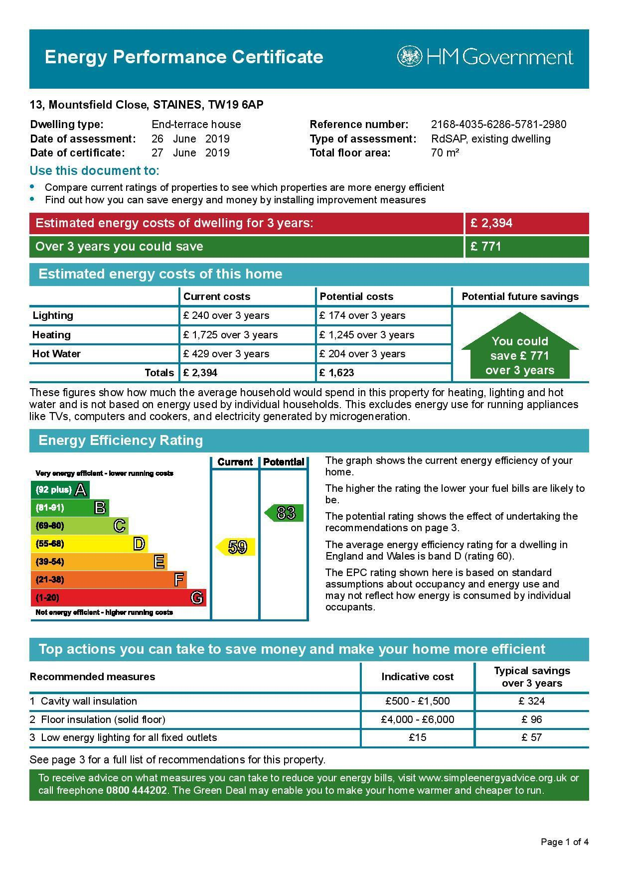 EPC Graph for 13 Mountsfield Close, Stanwell Moor, Middlesex TW19 6AP
