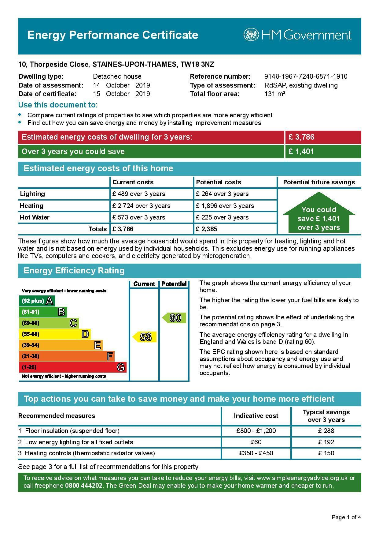 EPC Graph for 10 Thorpeside Close, Staines-Upon-Thames, Middlesex TW18 3NZ