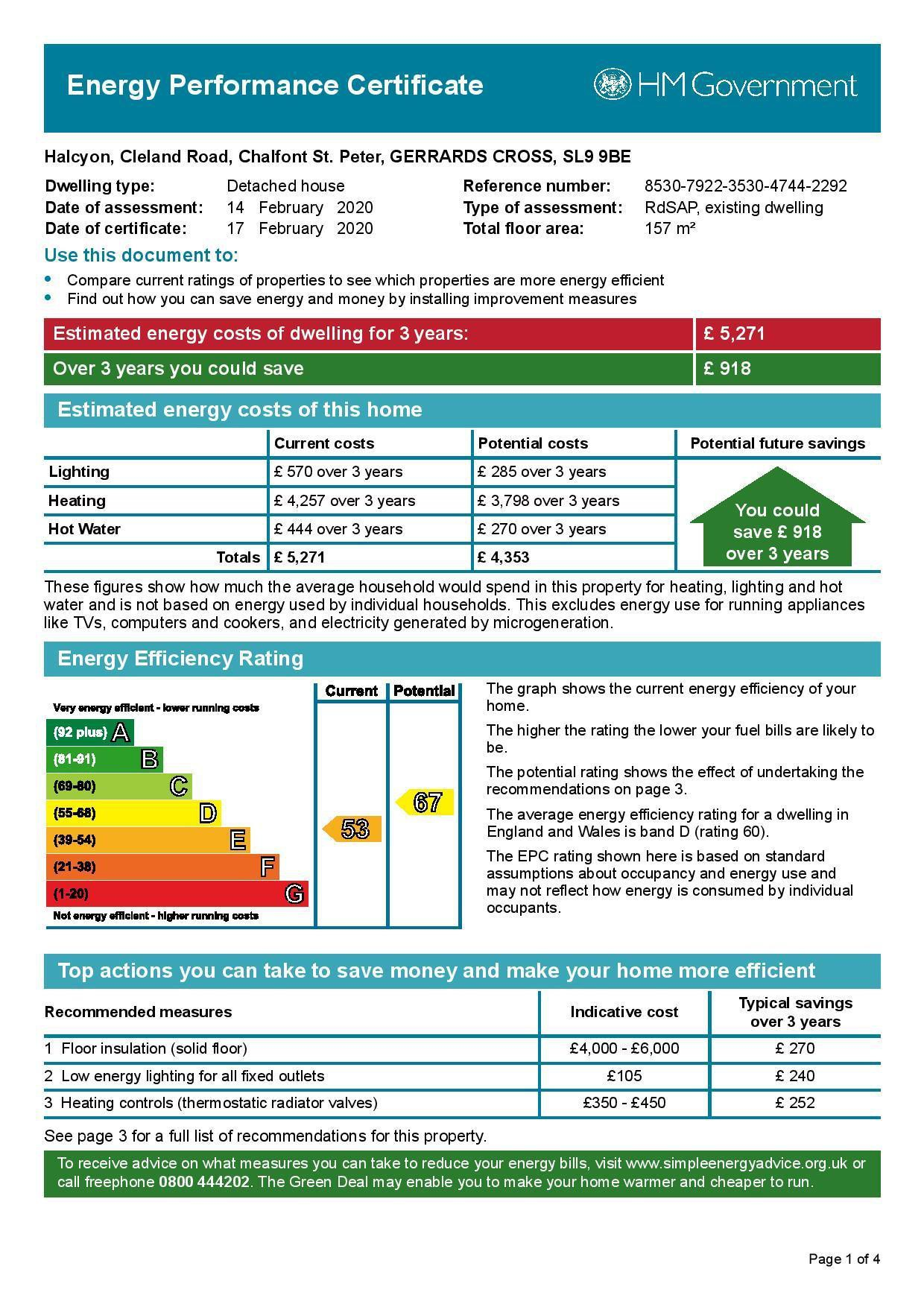 EPC Graph for Halcyon, Cleland Road, Chalfont St Peter, Buckinghamshire, SL9 9BE