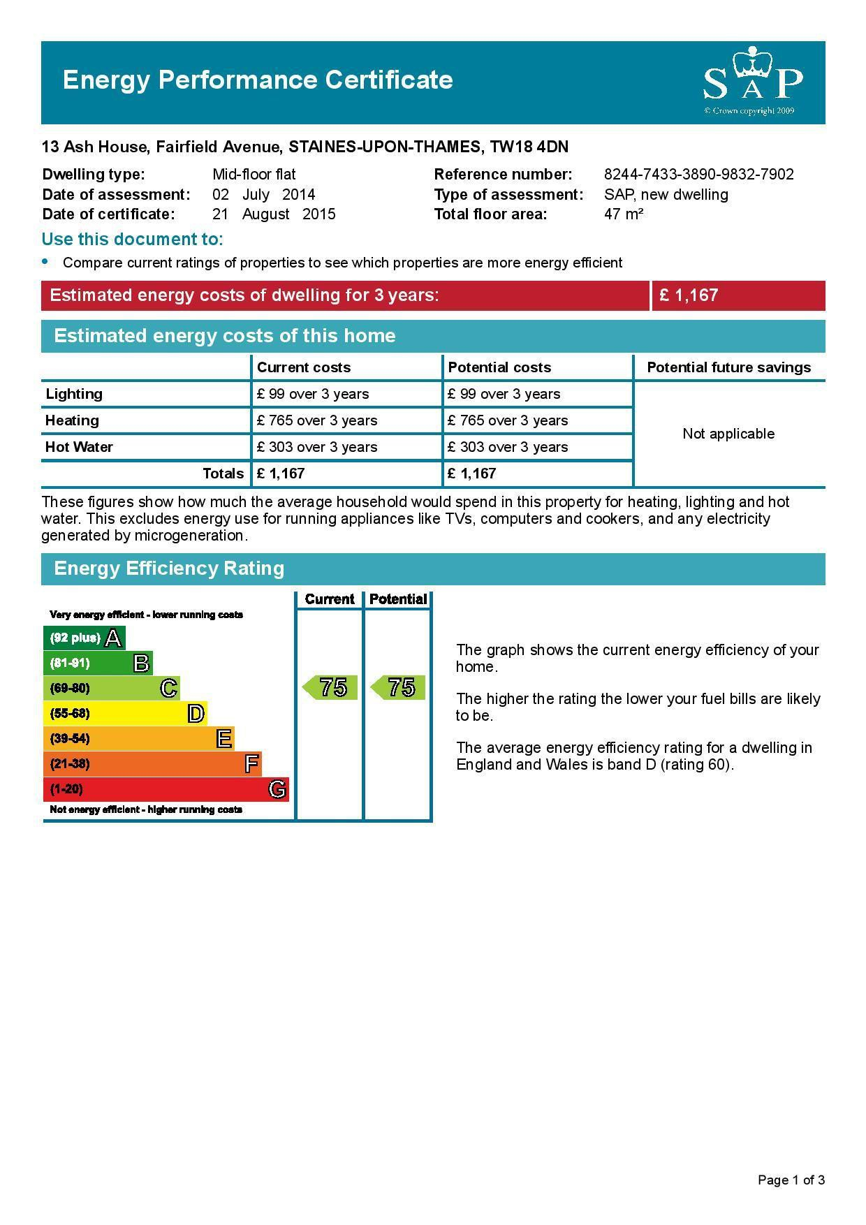 EPC Graph for 13 Ash House, Fairfield Avenue, Staines-Upon-Thames, Middlesex TW18 4DN