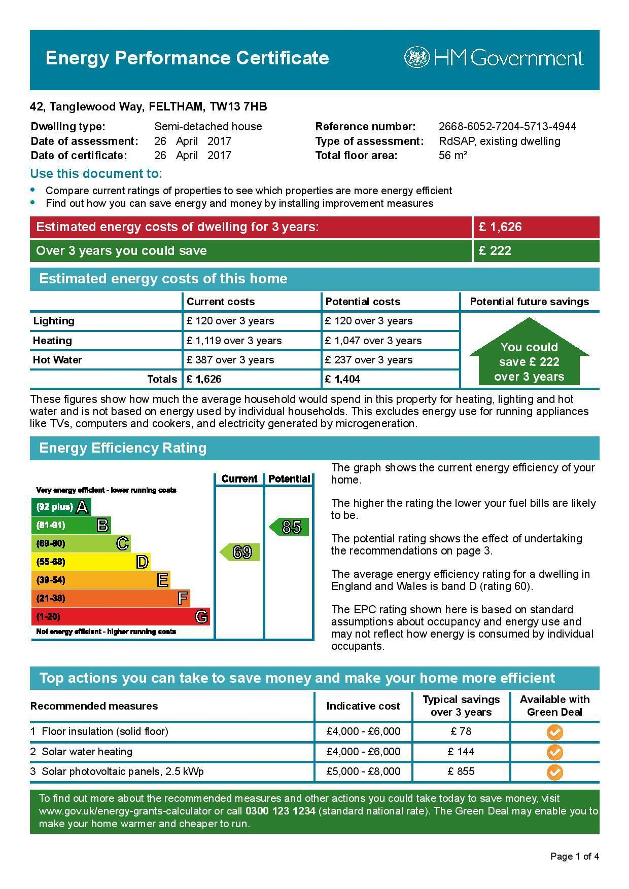 EPC Graph for 42 Tanglewood Way, Feltham, Middlesex TW13 7HB