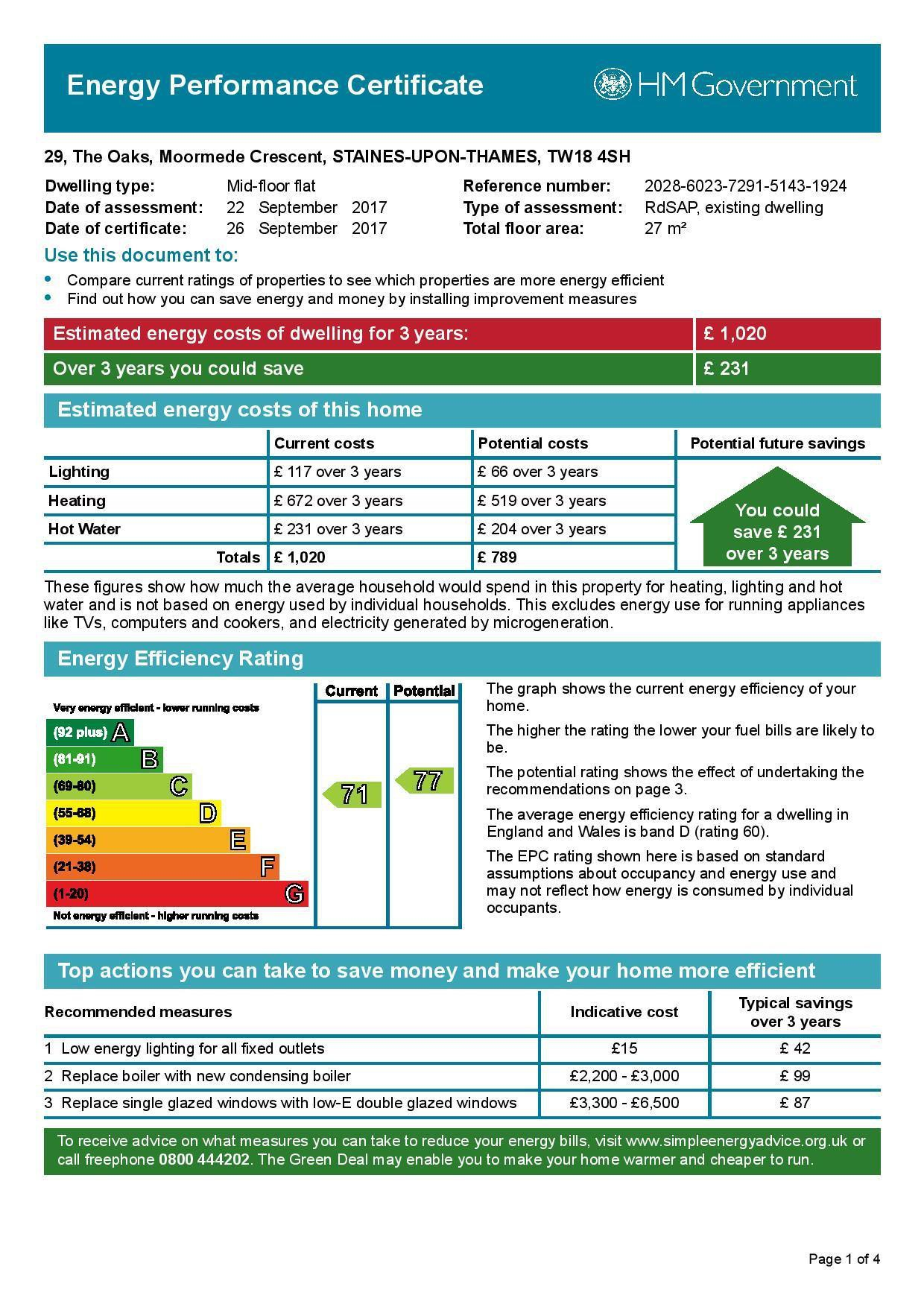 EPC Graph for 29 The Oaks, Moormede Crescent, Staines-Upon-Thames TW18 4SH