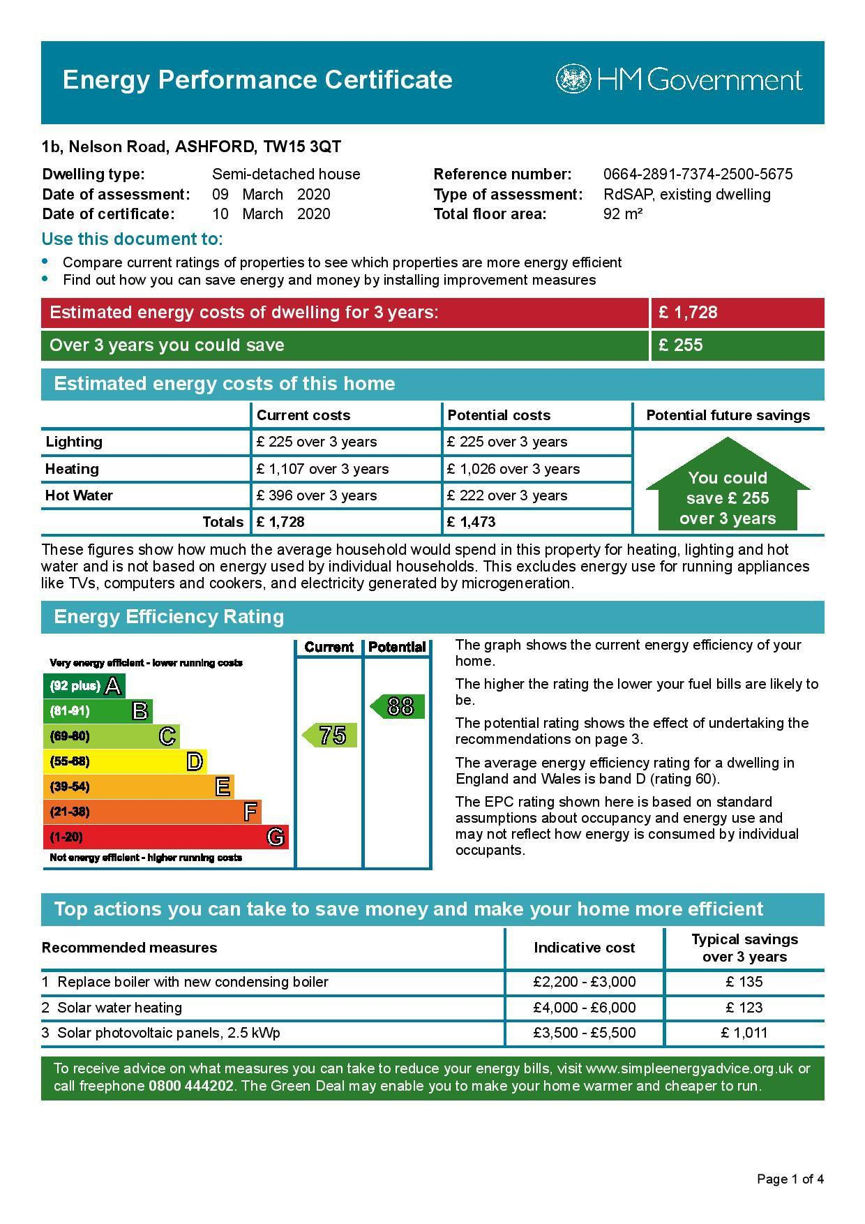 EPC Graph for 1b Nelson Road, Ashford, Middlesex TW15 3QT