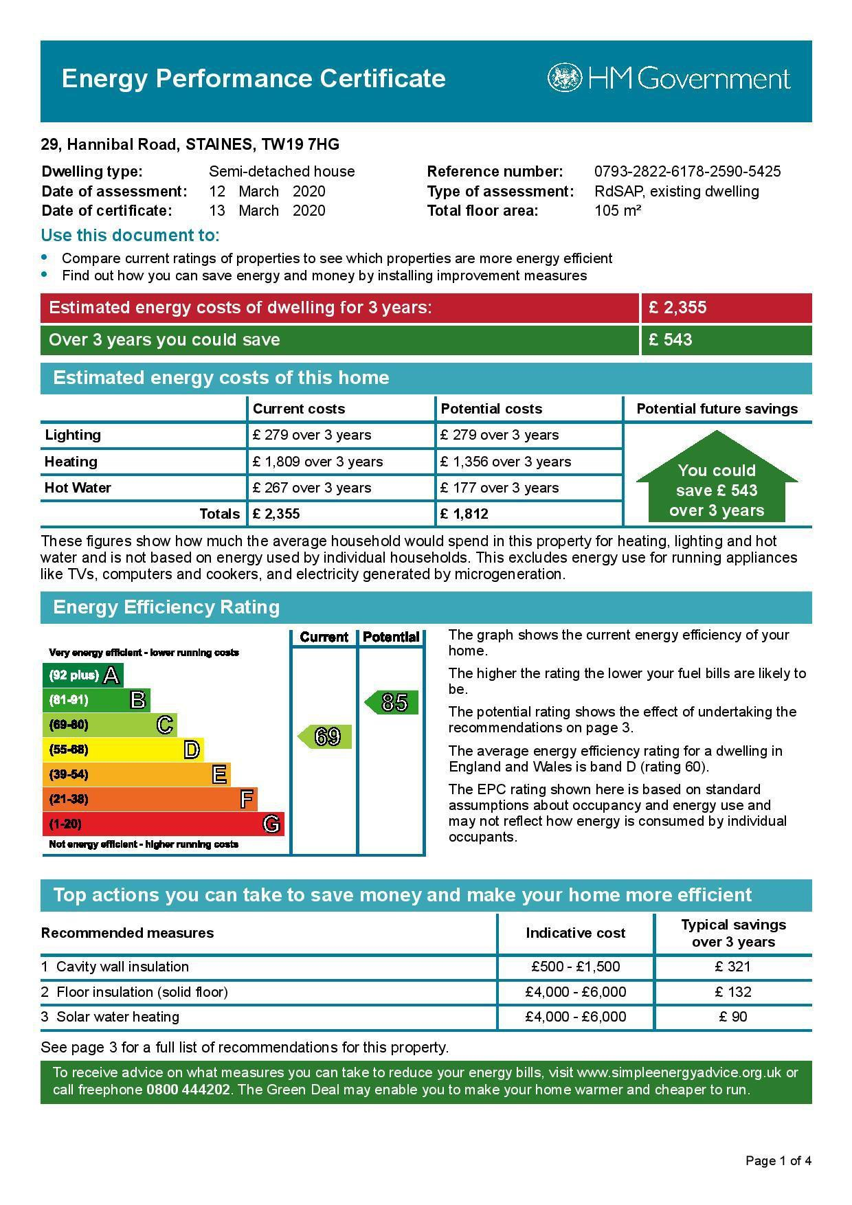 EPC Graph for 29 Hannibal Road, Stanwell, Middlesex TW19 7HG