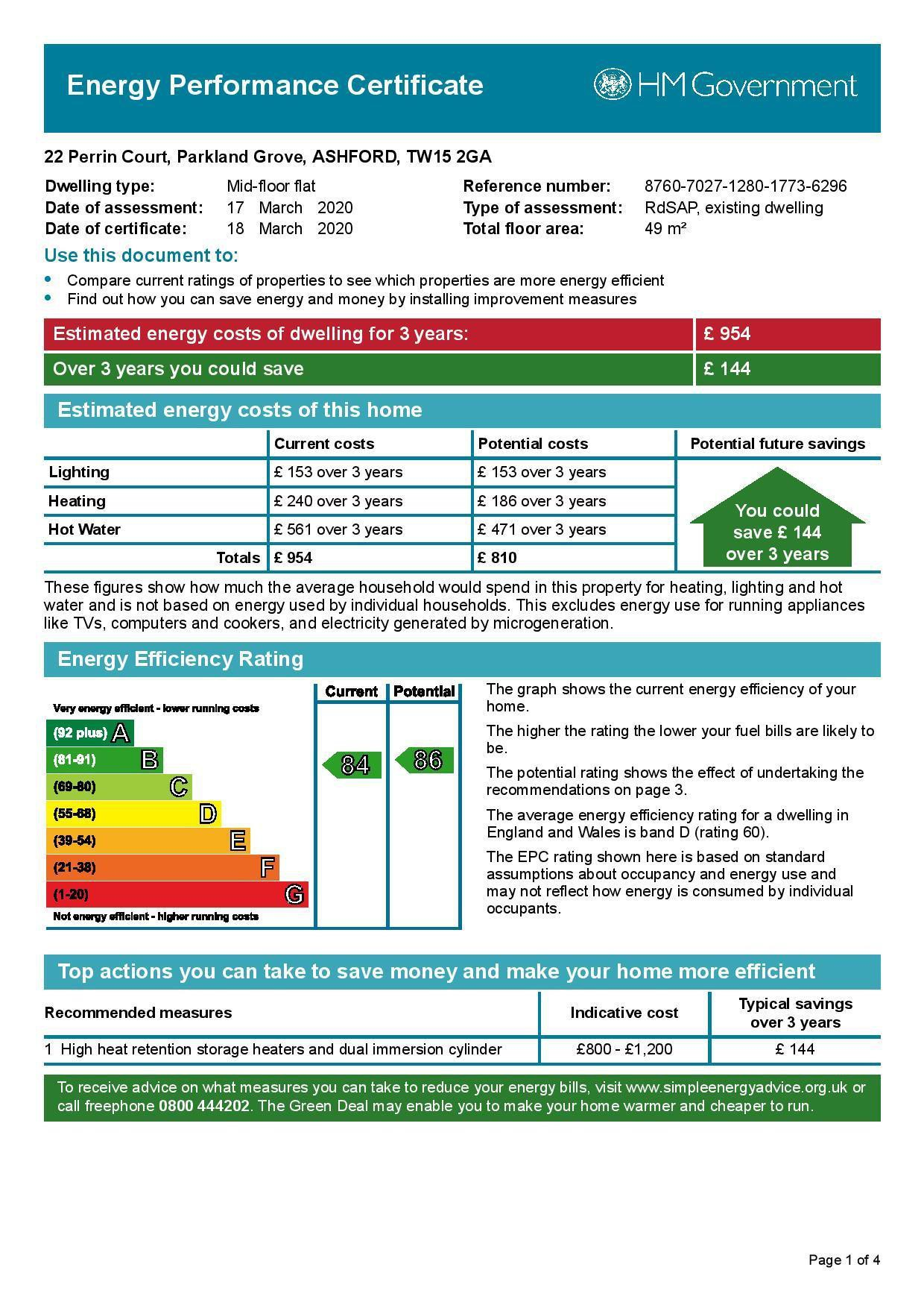 EPC Graph for 22 Perrin Court, Parkland Grove, Ashford, Middlesex TW15 2GA