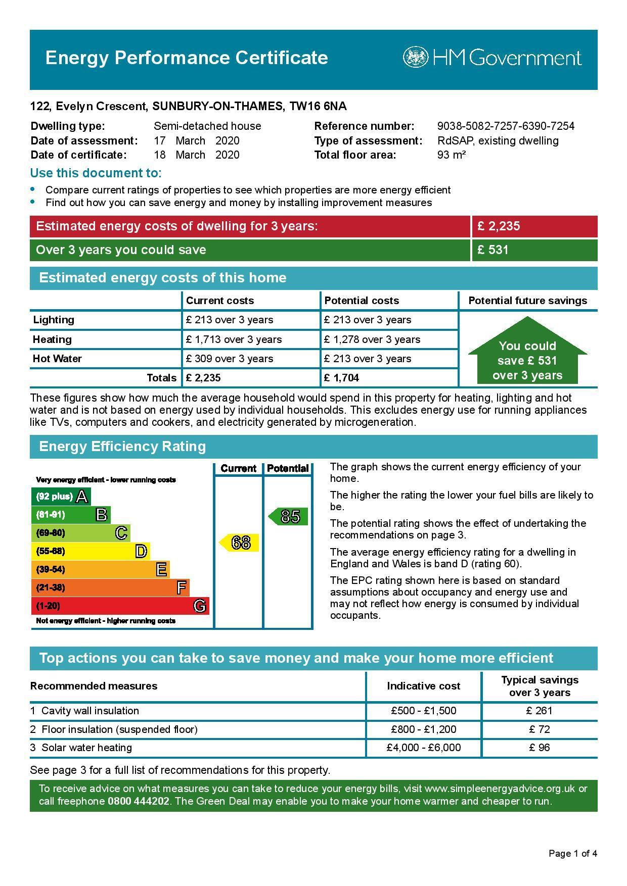 EPC Graph for 122 Evelyn Crescent, Sunbury-On-Thames, Surrey TW16 6NA