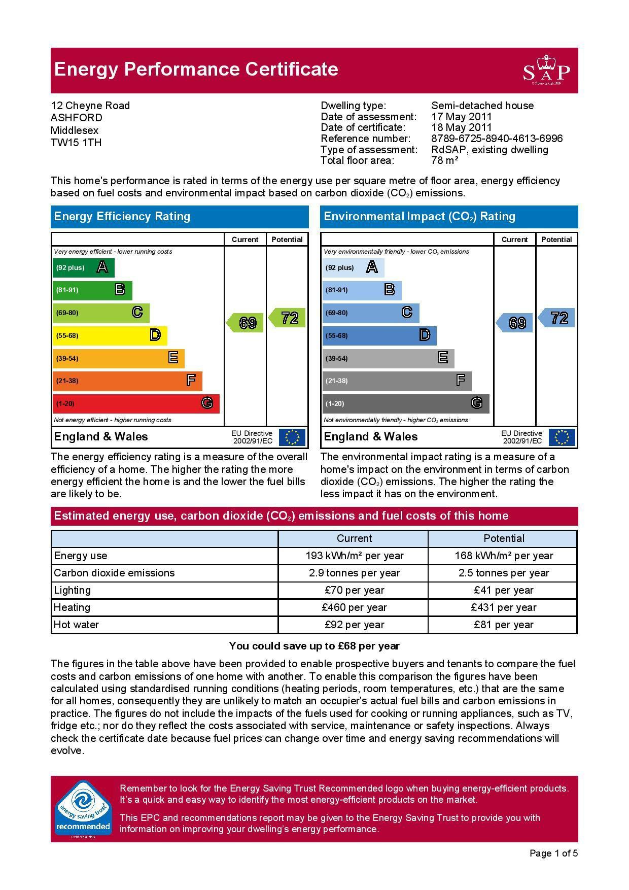 EPC Graph for 12 Cheyne Road, Ashford, Middlesex TW15 1TH