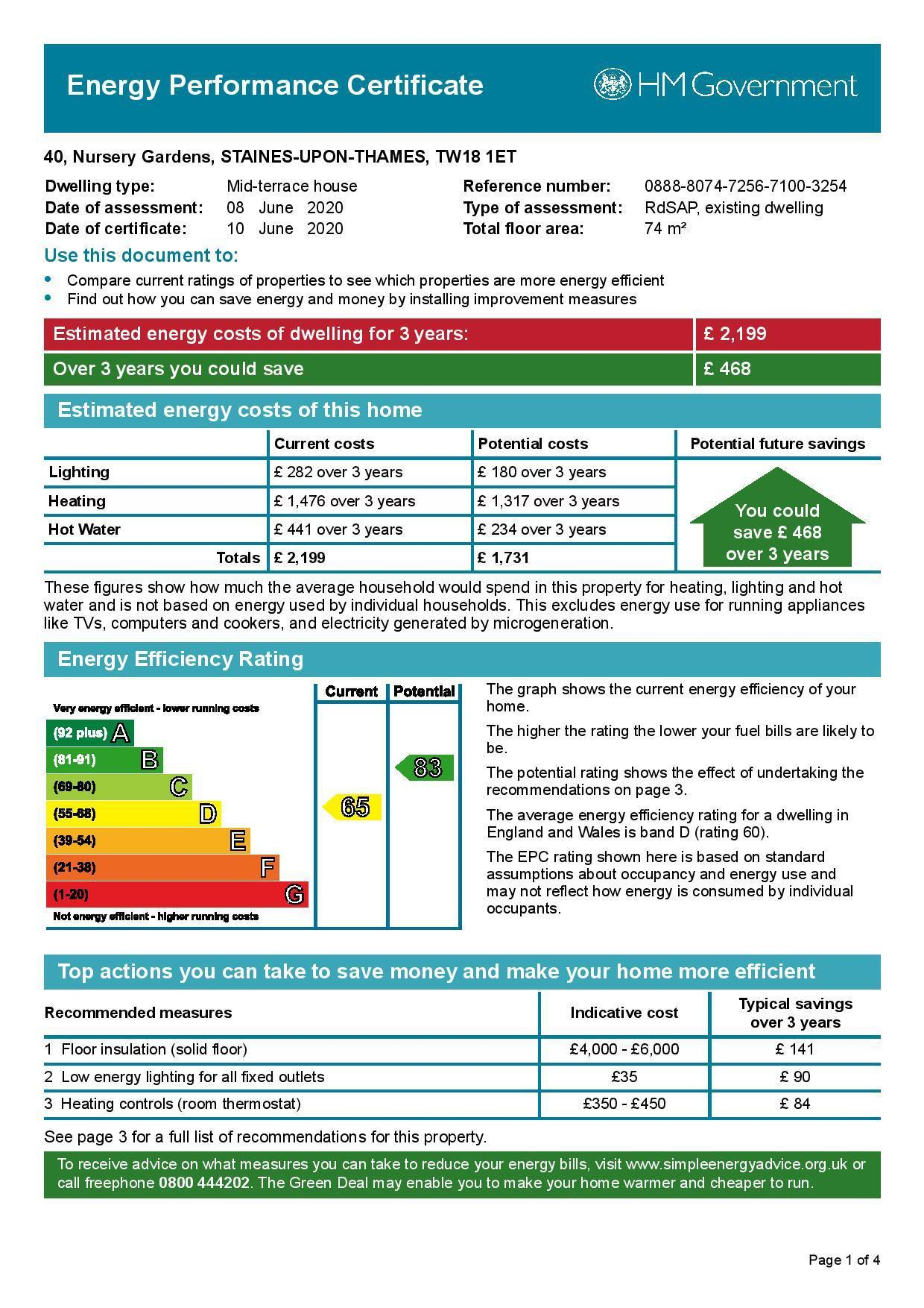 EPC Graph for 40 Nursery Gardens, Staines-Upon-Thames, Middlesex TW18 1ET