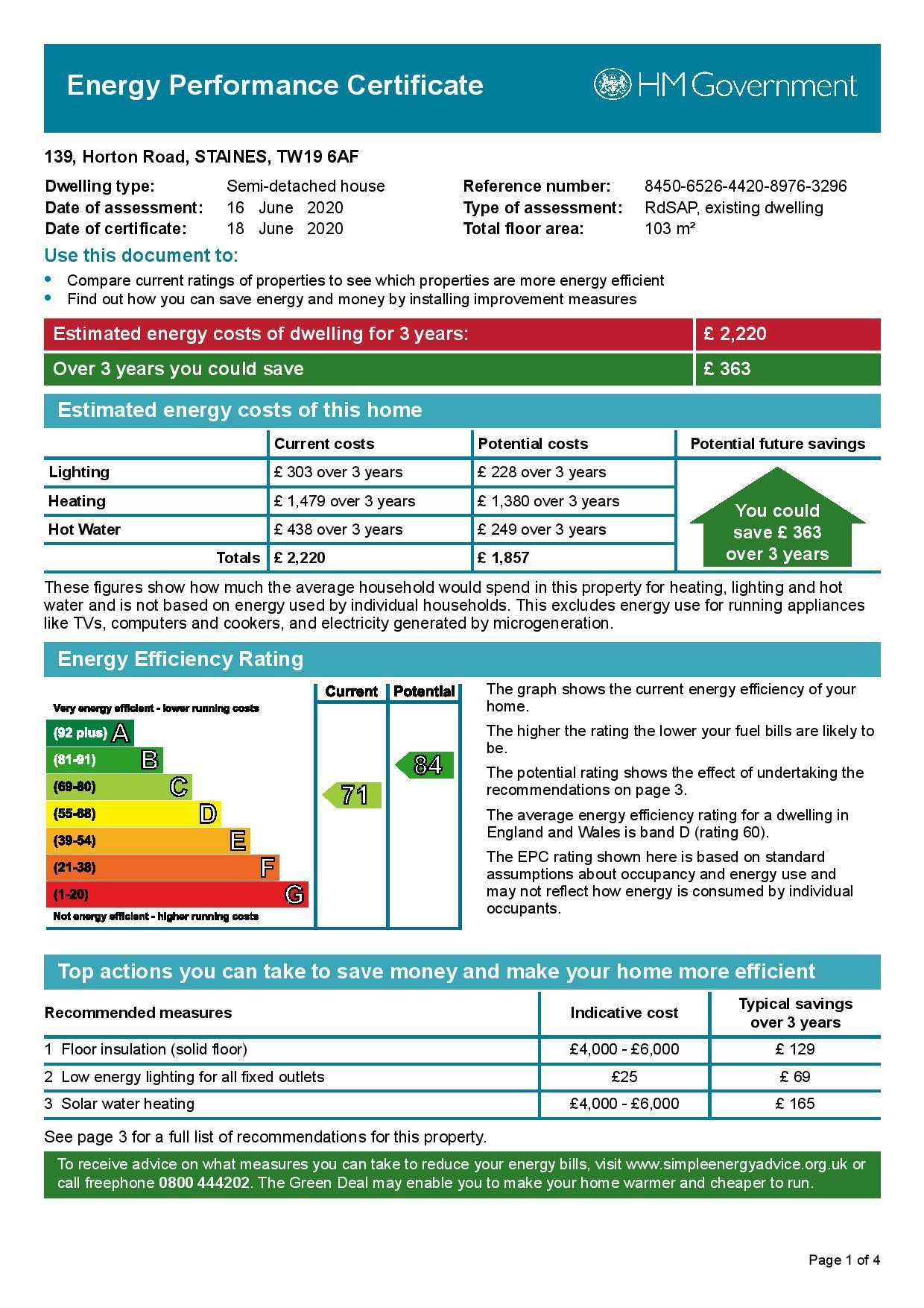 EPC Graph for 139 Horton Road, Stanwell Moor, Middlesex TW19 6AF