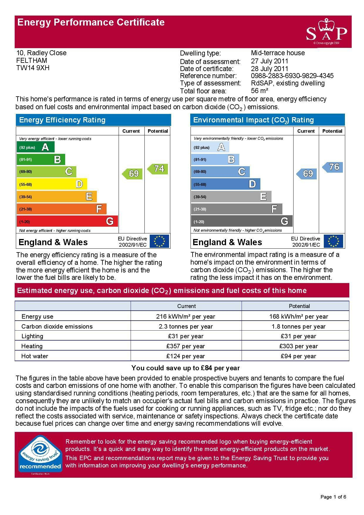 EPC Graph for 10 Radley Close, Feltham, Middlesex TW14 9XH