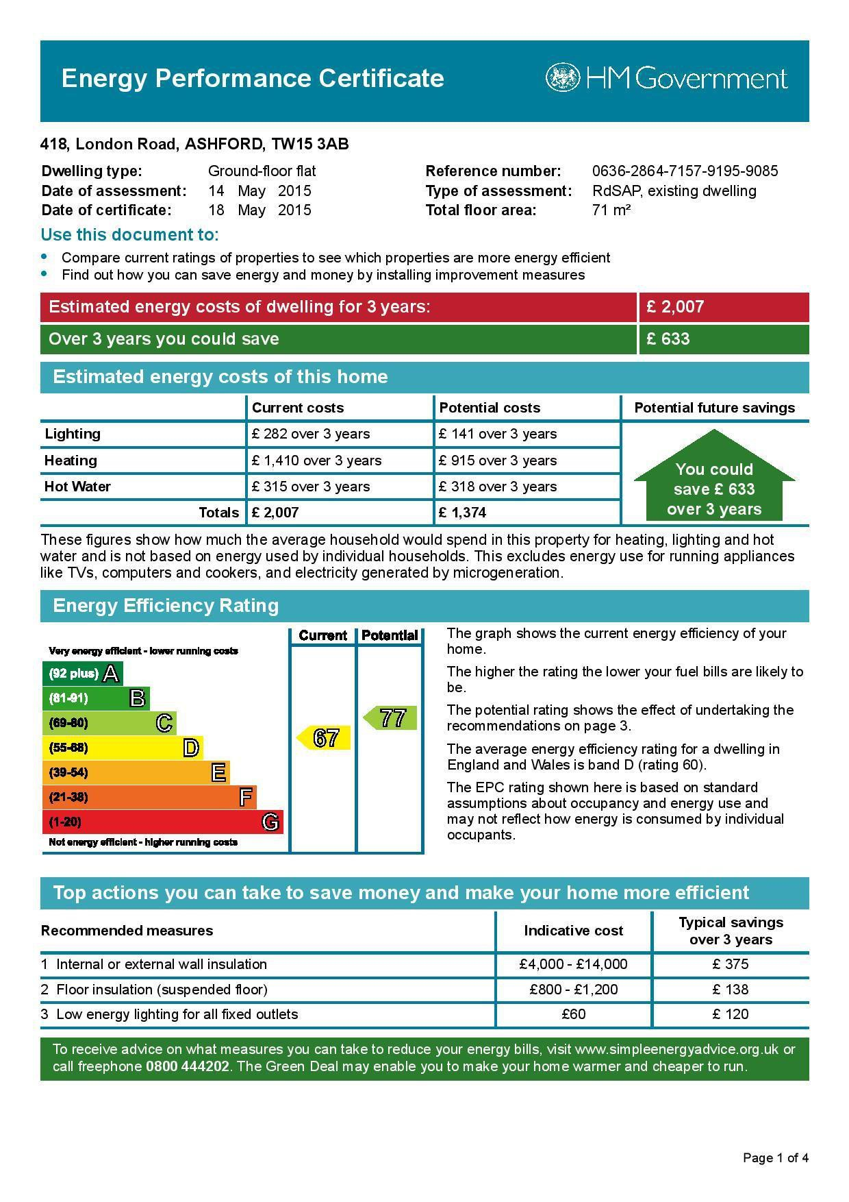 EPC Graph for 418 London Road, Ashford, Middlesex TW15 3AB