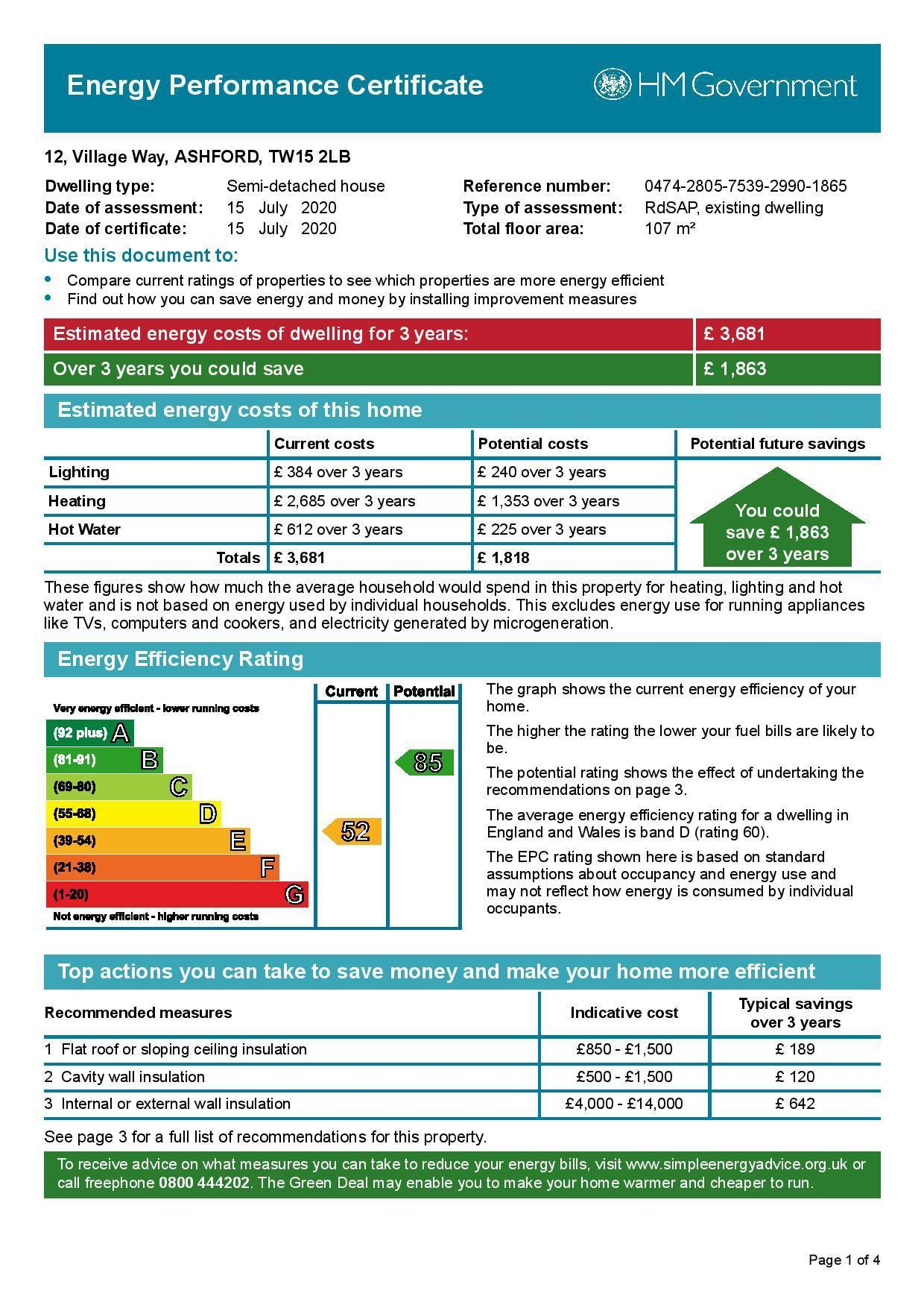EPC Graph for 12 Village Way, Ashford, Middlesex TW15 2LB