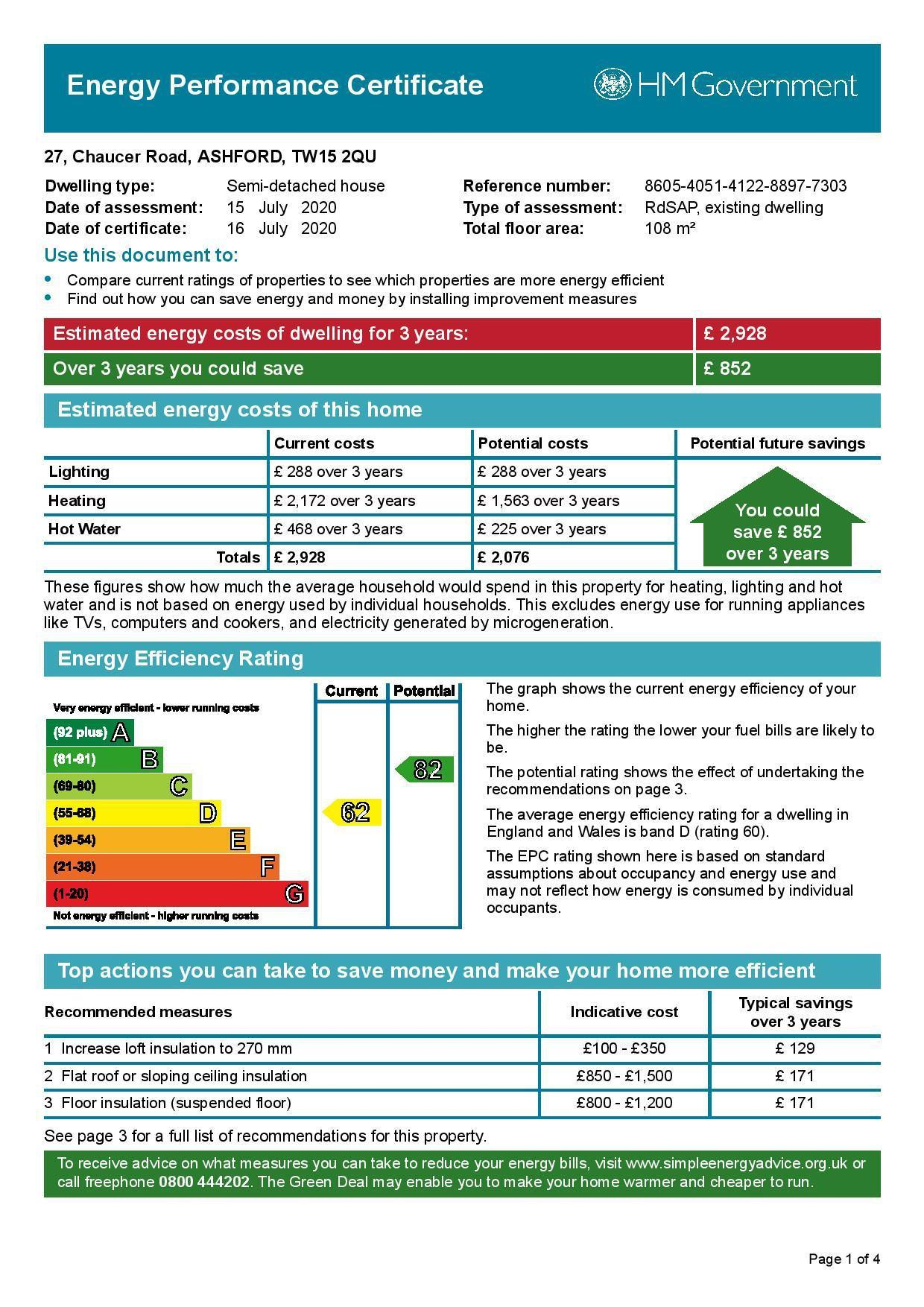 EPC Graph for 27 Chaucer Road, Ashford, Middlesex TW15 2QU
