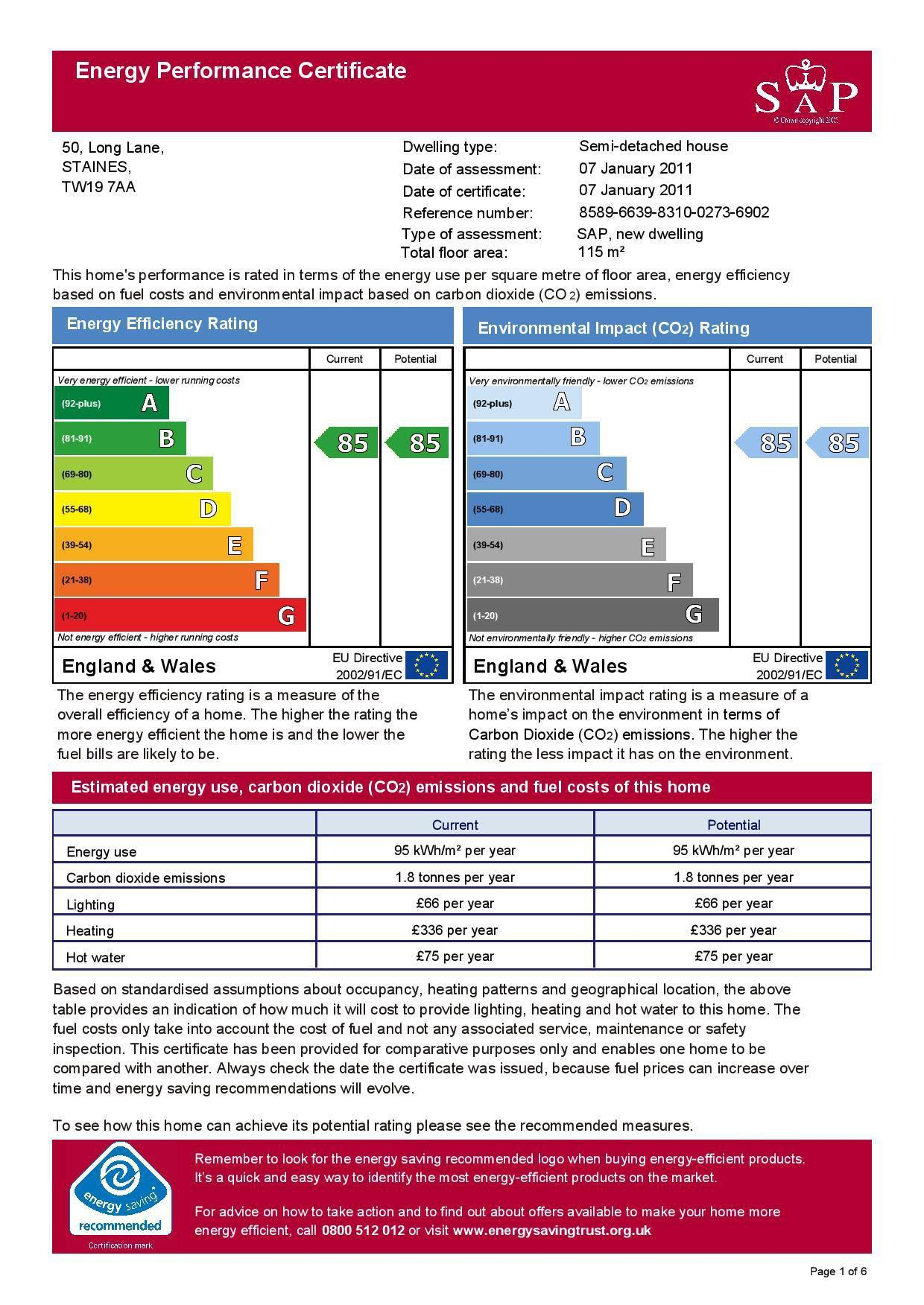 EPC Graph for 50 Long Lane, Stanwell, Middlesex TW19 7AA