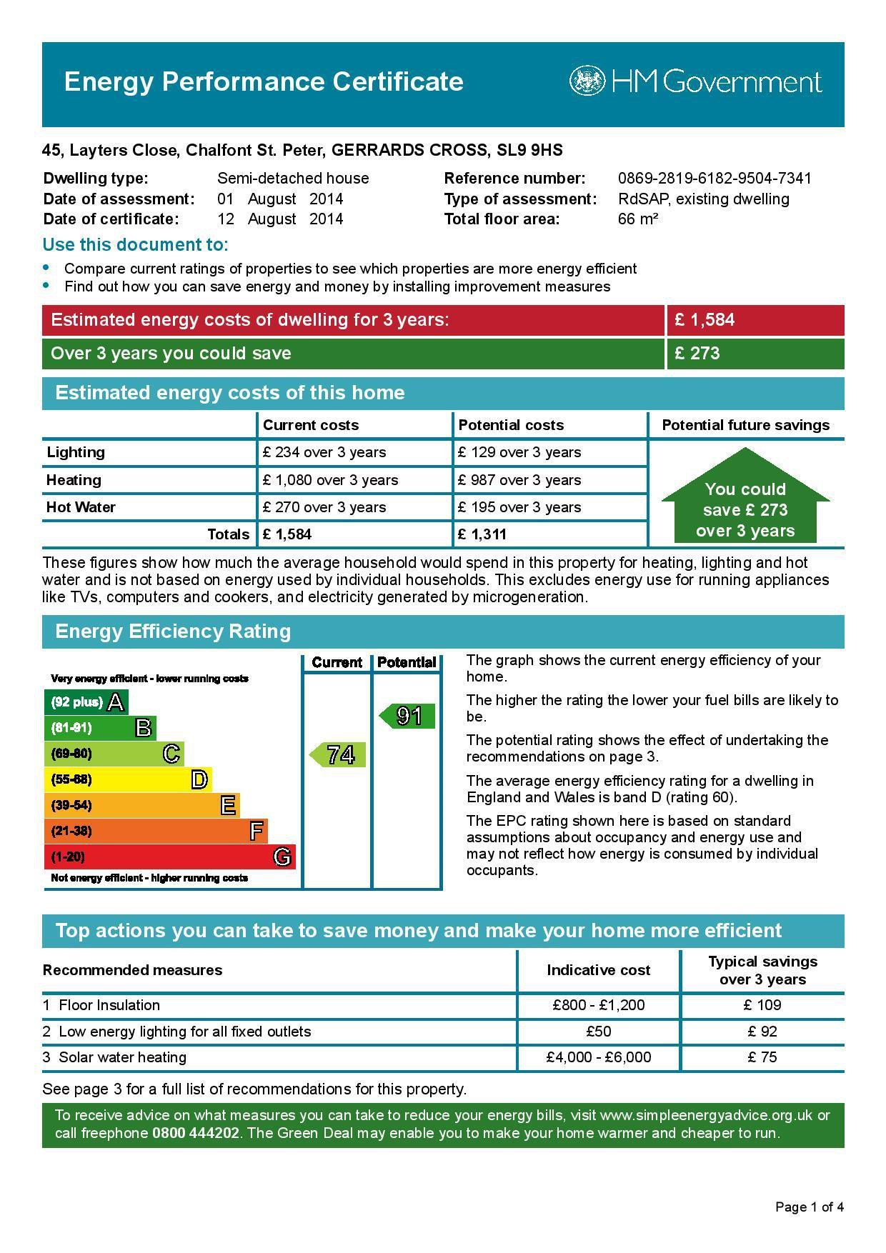 EPC Graph for 45 Layters Close, Chalfont St. Peter, Buckinghamshire, SL9 9HS