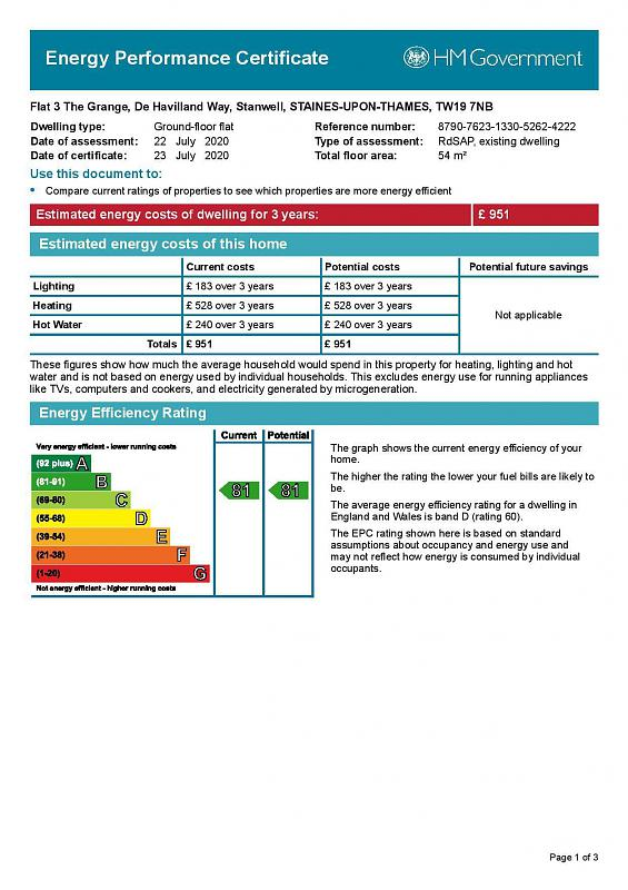 EPC Graph for Flat 3 The Grange, De Havilland Way, Stanwell, Middlesex TW19 7NB
