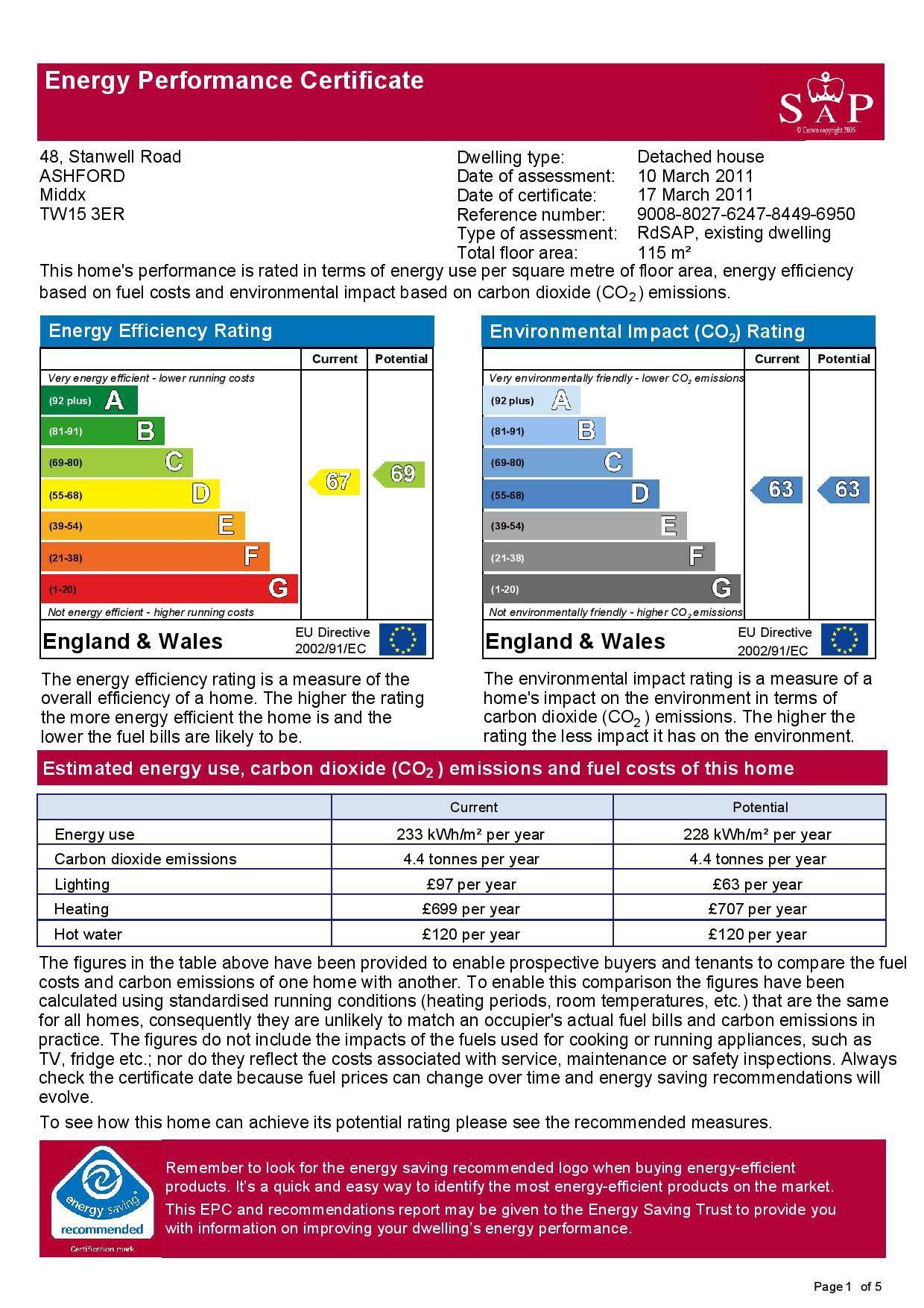EPC Graph for 48 Stanwell Road, Ashford, Middlesex TW15 3ER