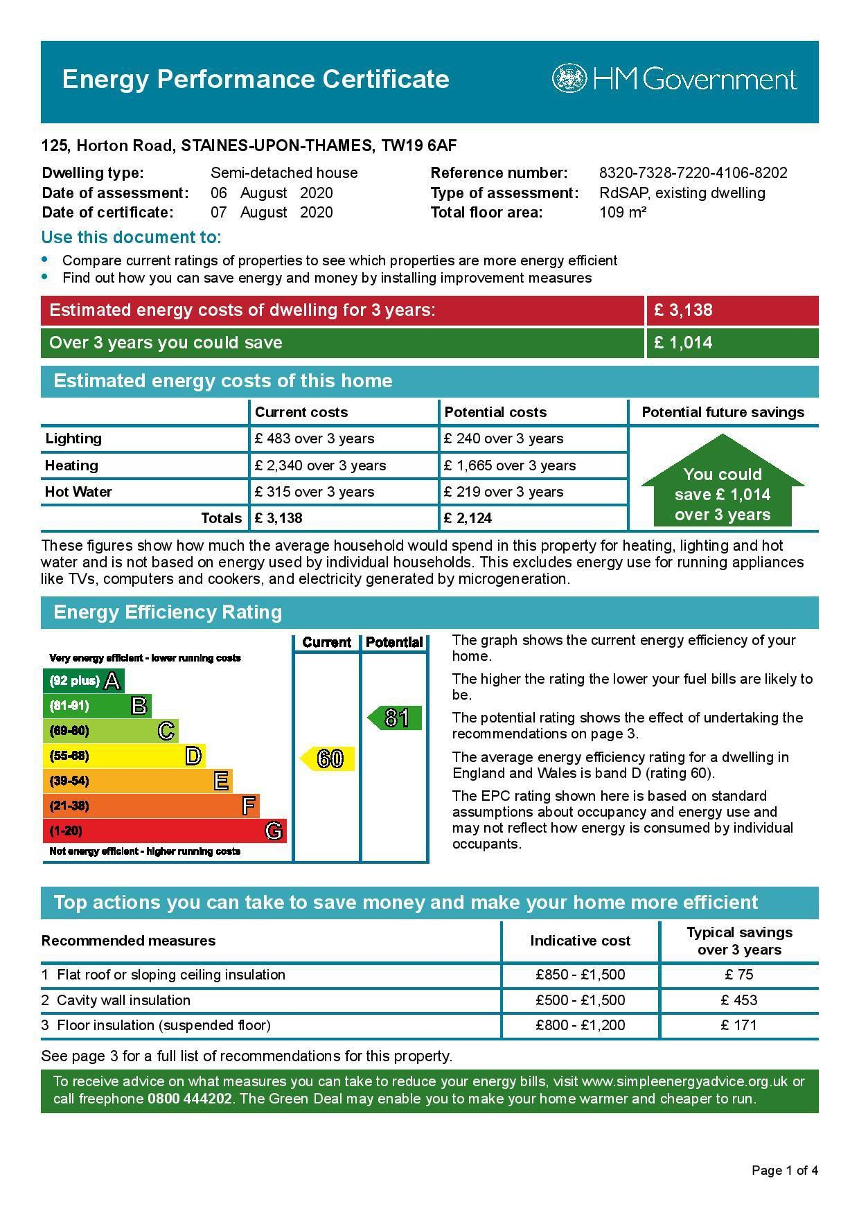 EPC Graph for 125 Horton Road, Stanwell Moor, Middlesex TW19 6AF