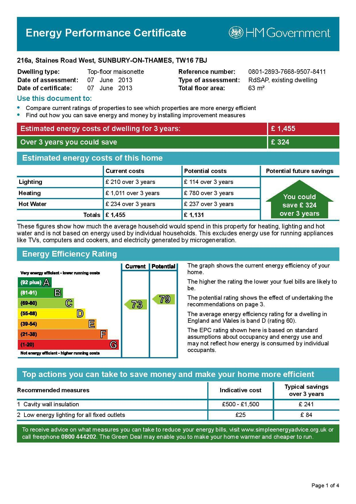 EPC Graph for 216a Staines Road West, Sunbury-On-Thames, Middlesex TW16 7BJ