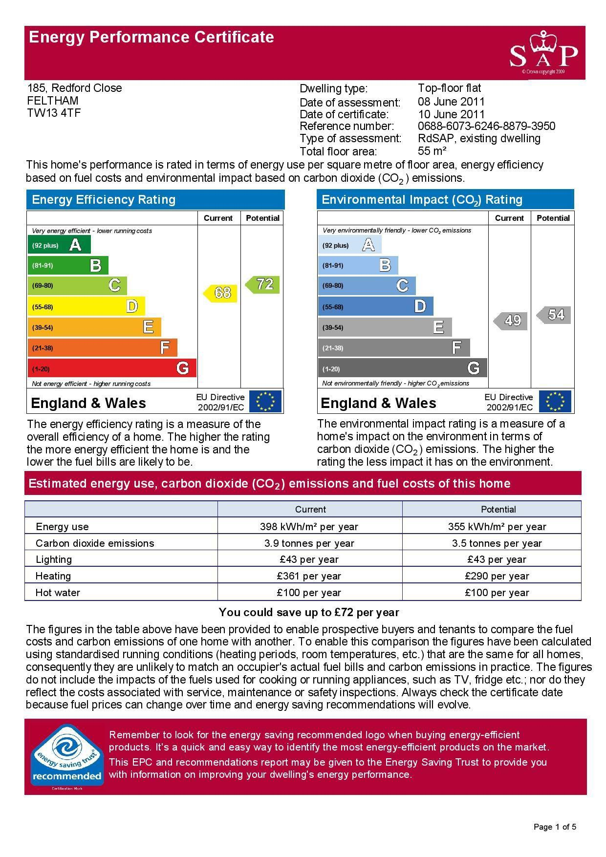 EPC Graph for 185 Redford Close, Feltham, Middlesex TW13 4TF