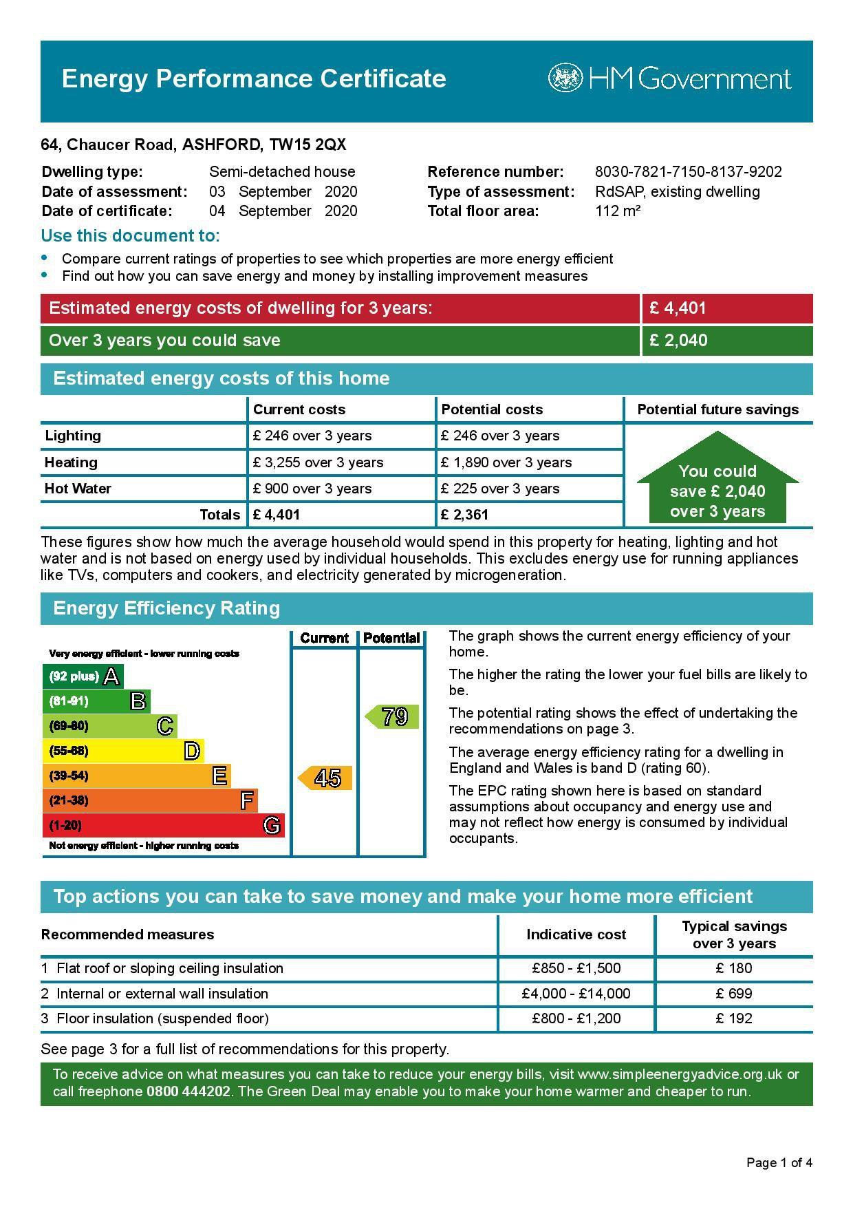 EPC Graph for 64 Chaucer Road, Ashford, Middlesex TW15 2QX