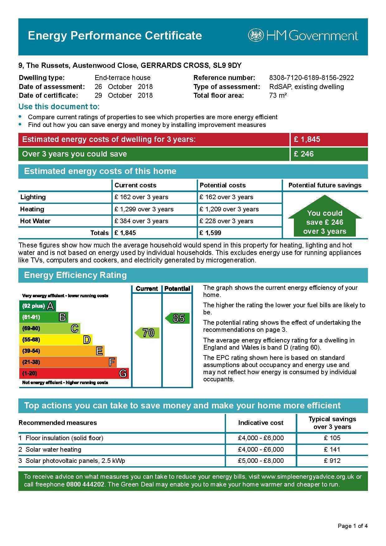 EPC Graph for 9 The Russets, Austenwood Close, Chalfont St. Peter, Buckinghamshire, SL9 9DY